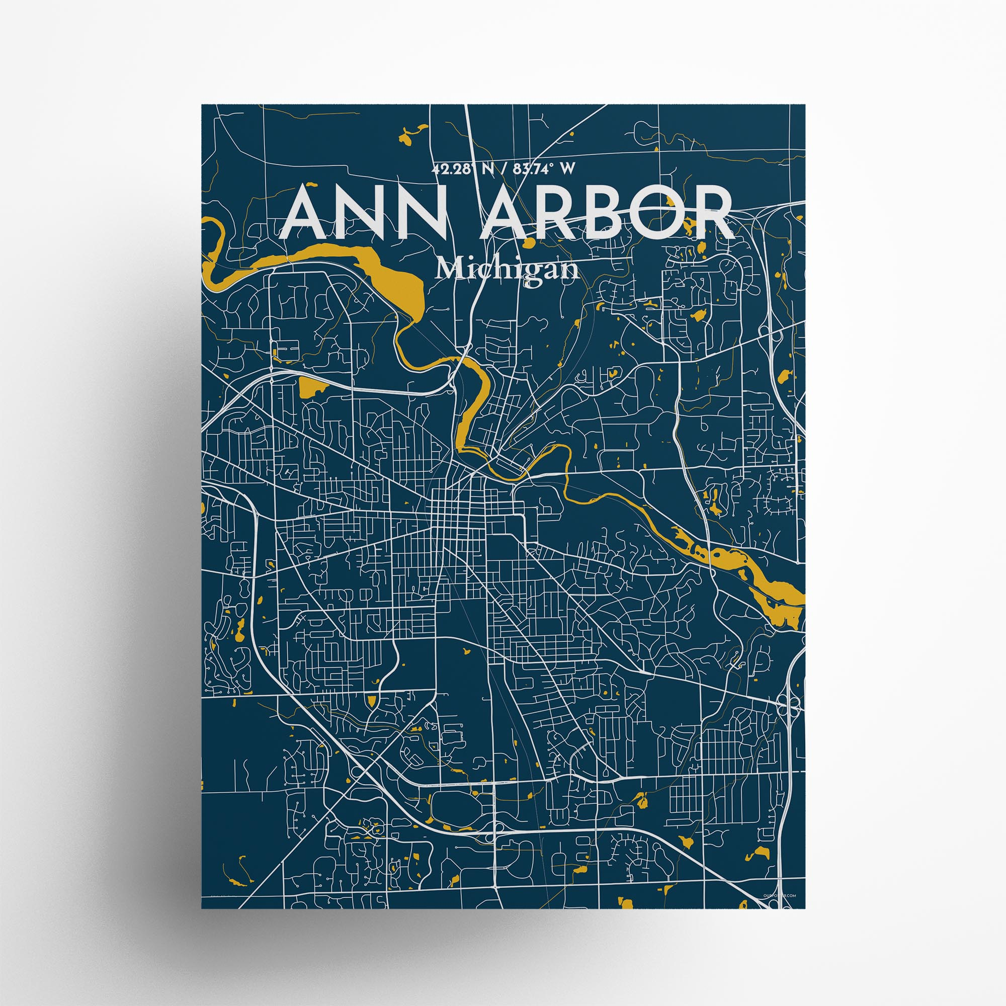 "Ann Arbor city map poster in Amuse of size 18"" x 24"""
