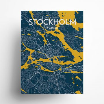 "Stockholm city map poster in Amuse of size 18"" x 24"""