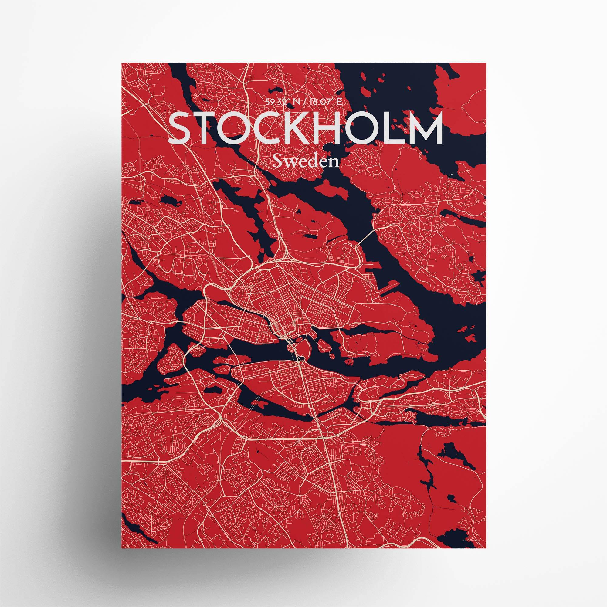 "Stockholm city map poster in Nautical of size 18"" x 24"""