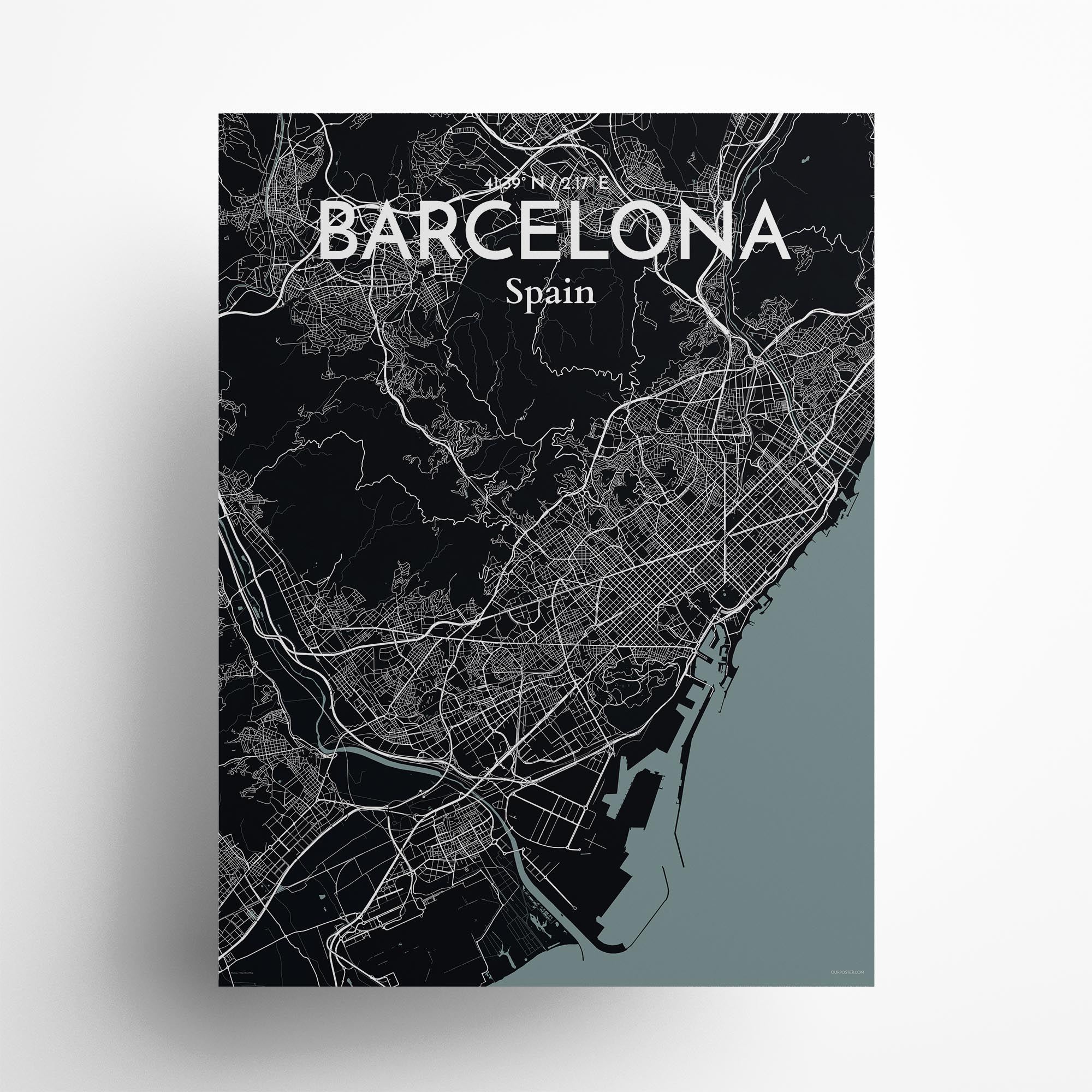 "Barcelona city map poster in Midnight of size 18"" x 24"""