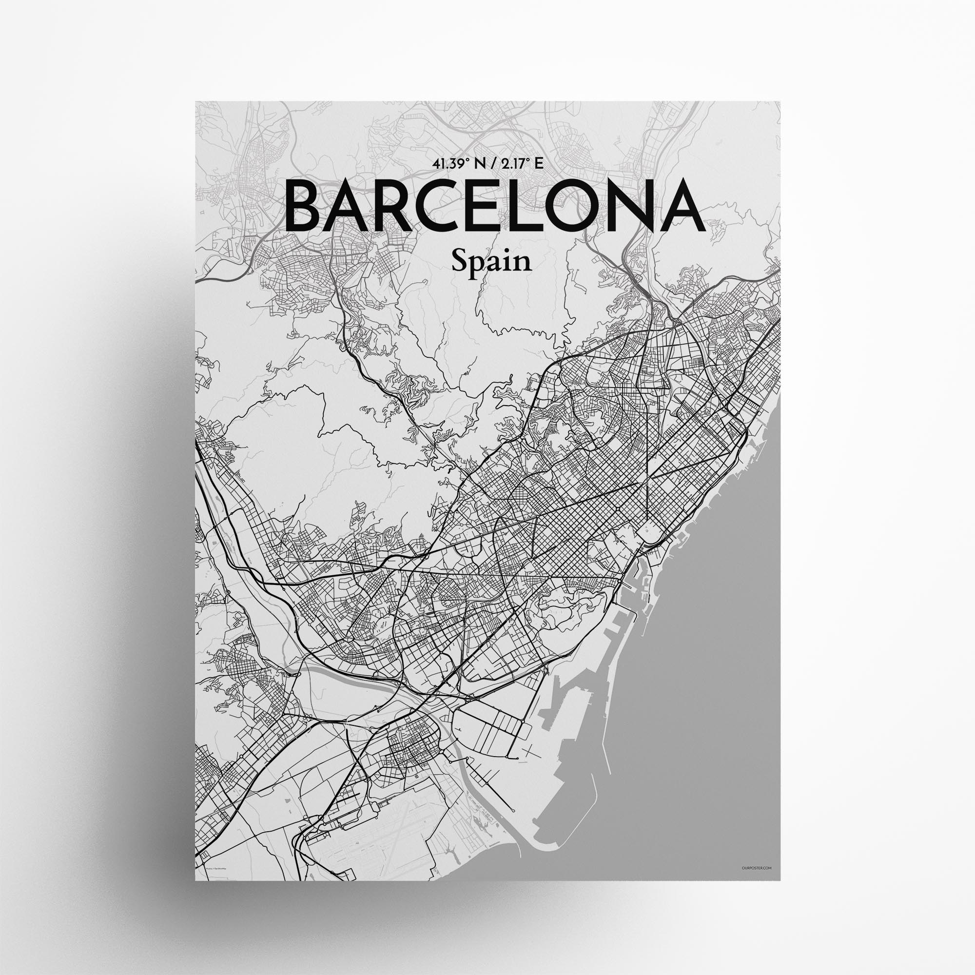 "Barcelona city map poster in Tones of size 18"" x 24"""