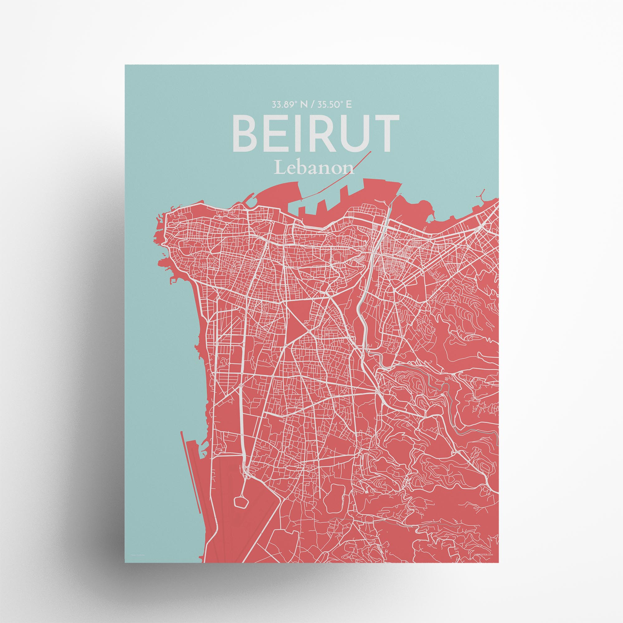 """Beirut city map poster in Maritime of size 18"""" x 24"""""""