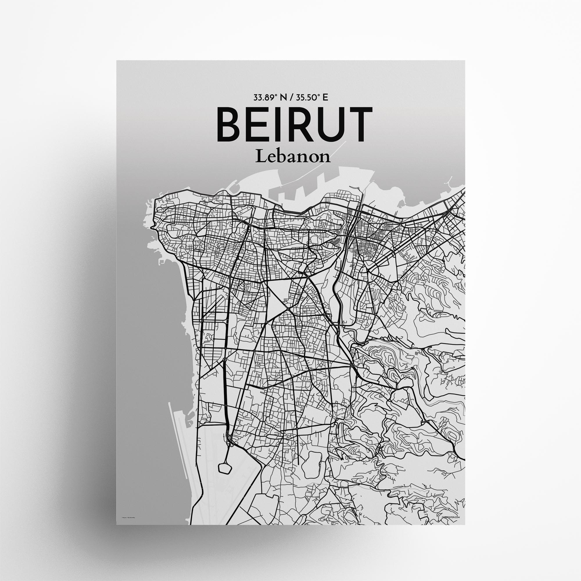 "Beirut city map poster in Tones of size 18"" x 24"""