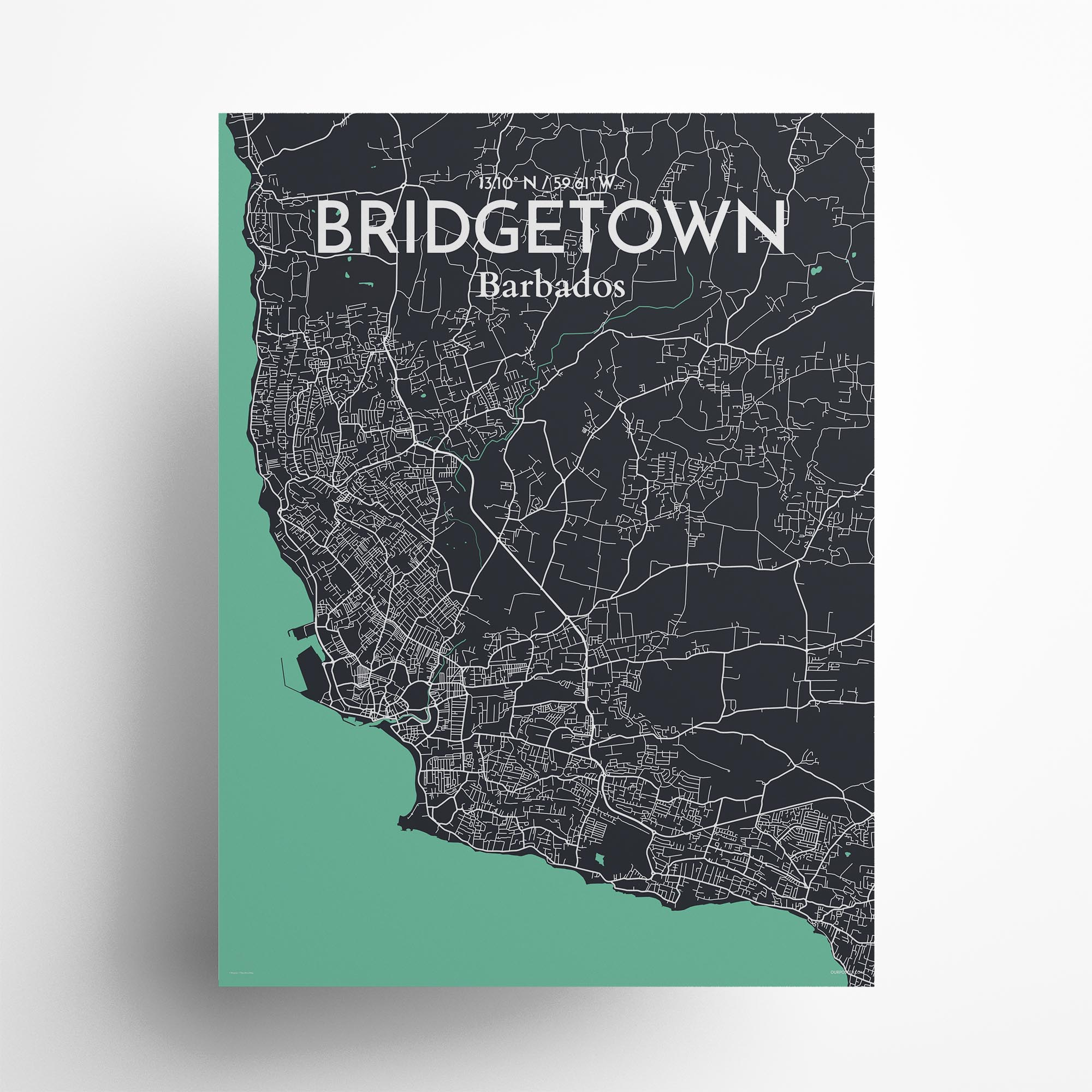 "Bridgetown city map poster in Dream of size 18"" x 24"""
