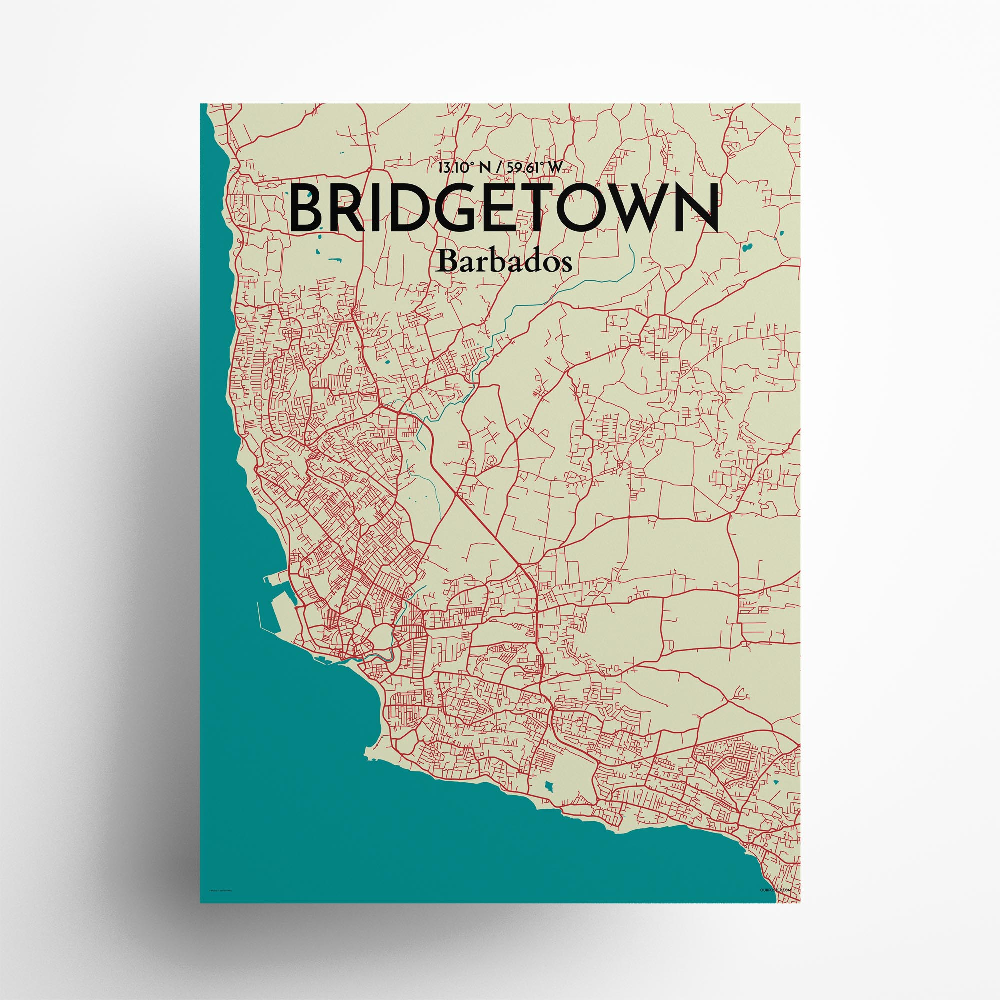 "Bridgetown city map poster in Tricolor of size 18"" x 24"""