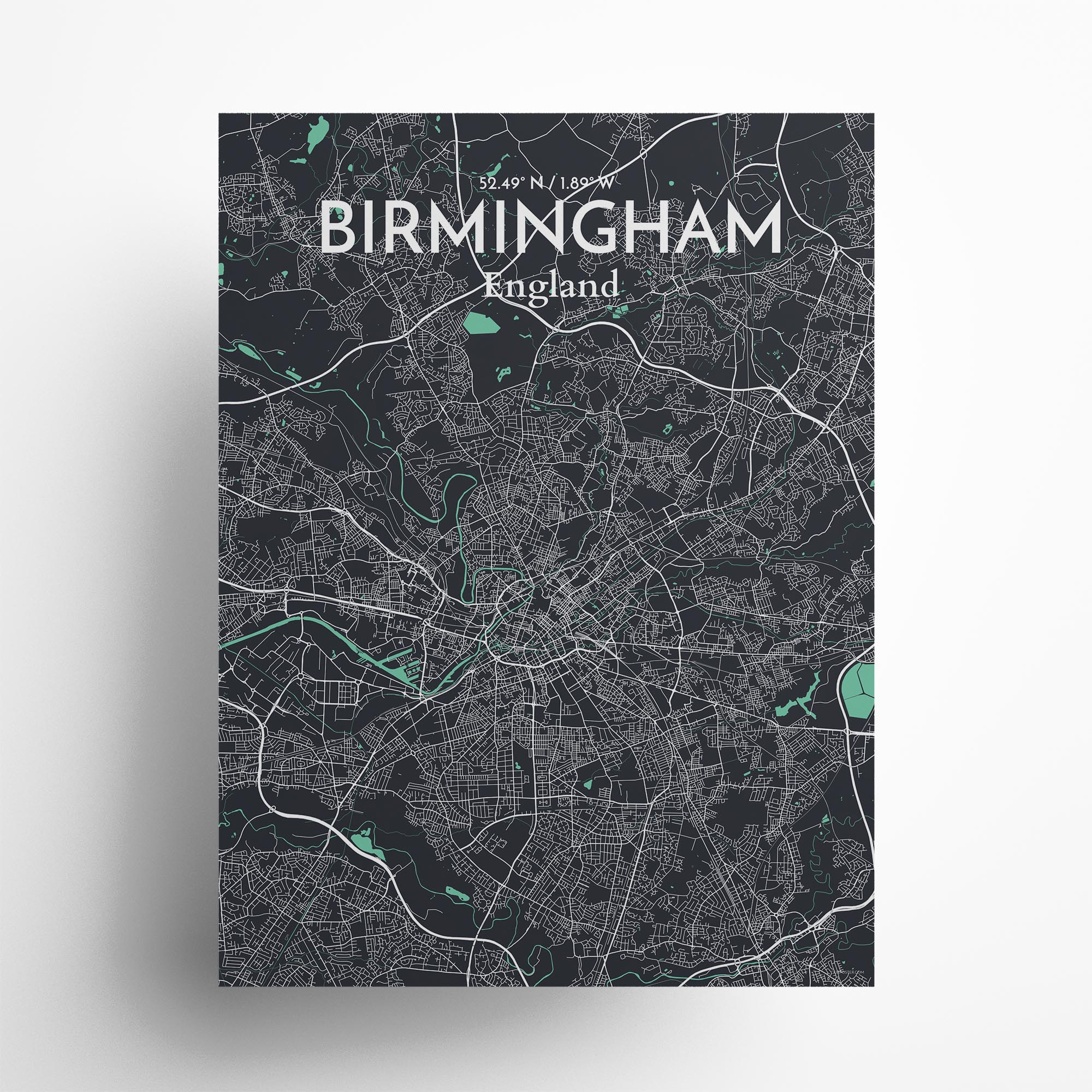 "Birmingham city map poster in Dream of size 18"" x 24"""