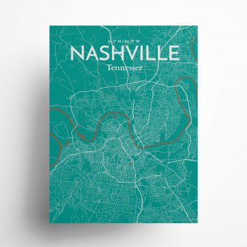 """Nashville city map poster in Nature of size 18"""" x 24"""""""