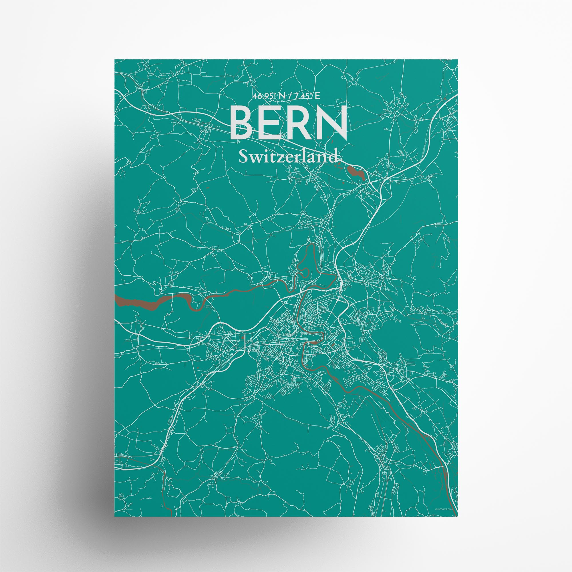 "Bern city map poster in Nature of size 18"" x 24"""