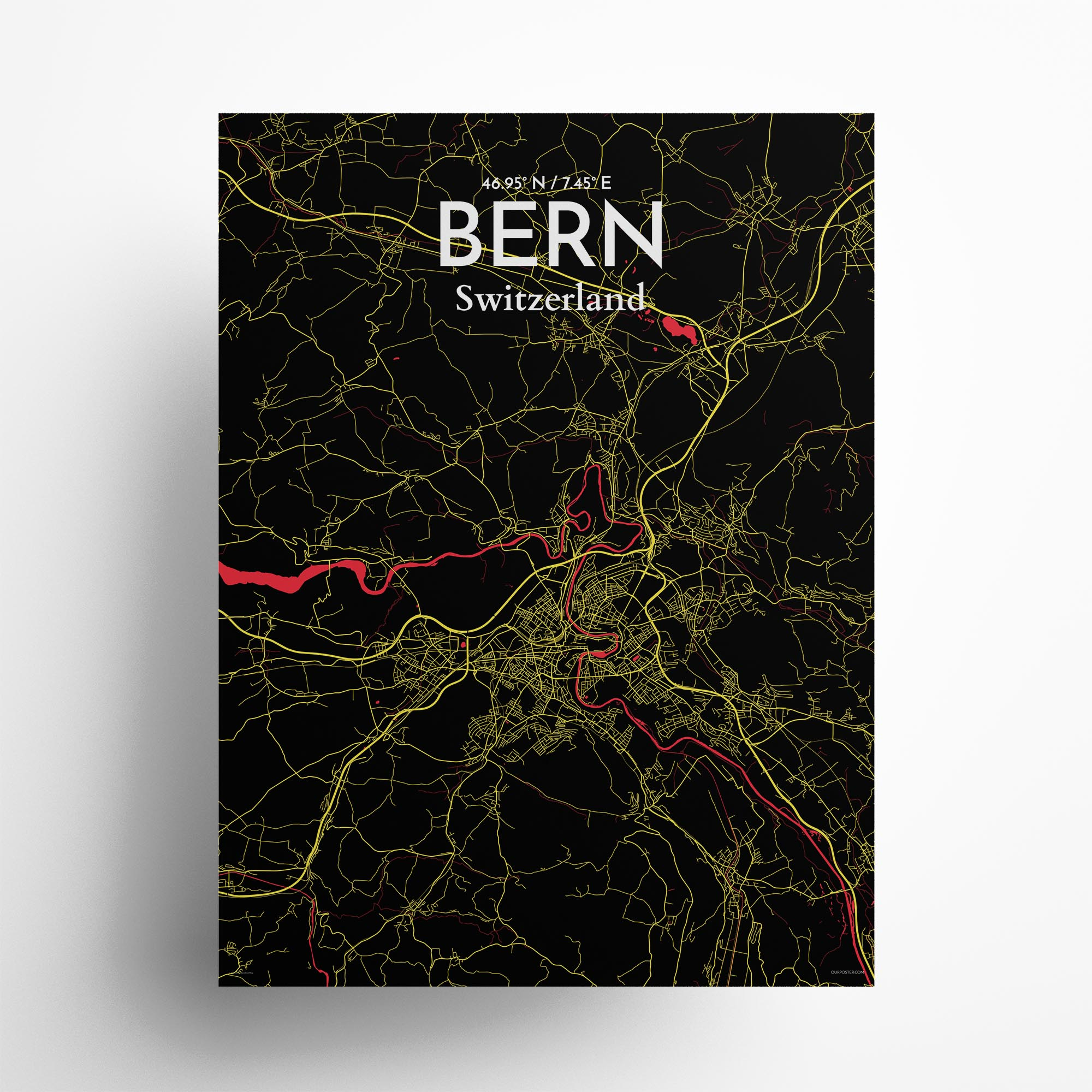 "Bern city map poster in Contrast of size 18"" x 24"""