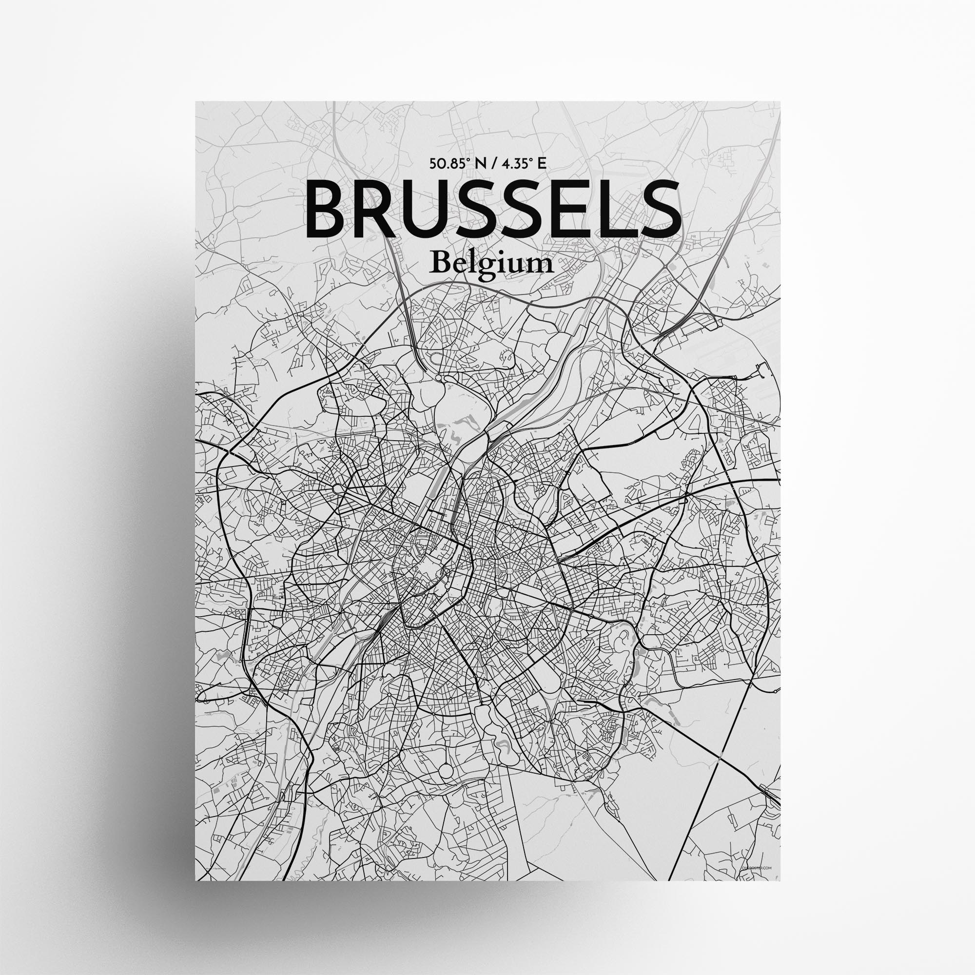 "Brussels city map poster in Tones of size 18"" x 24"""