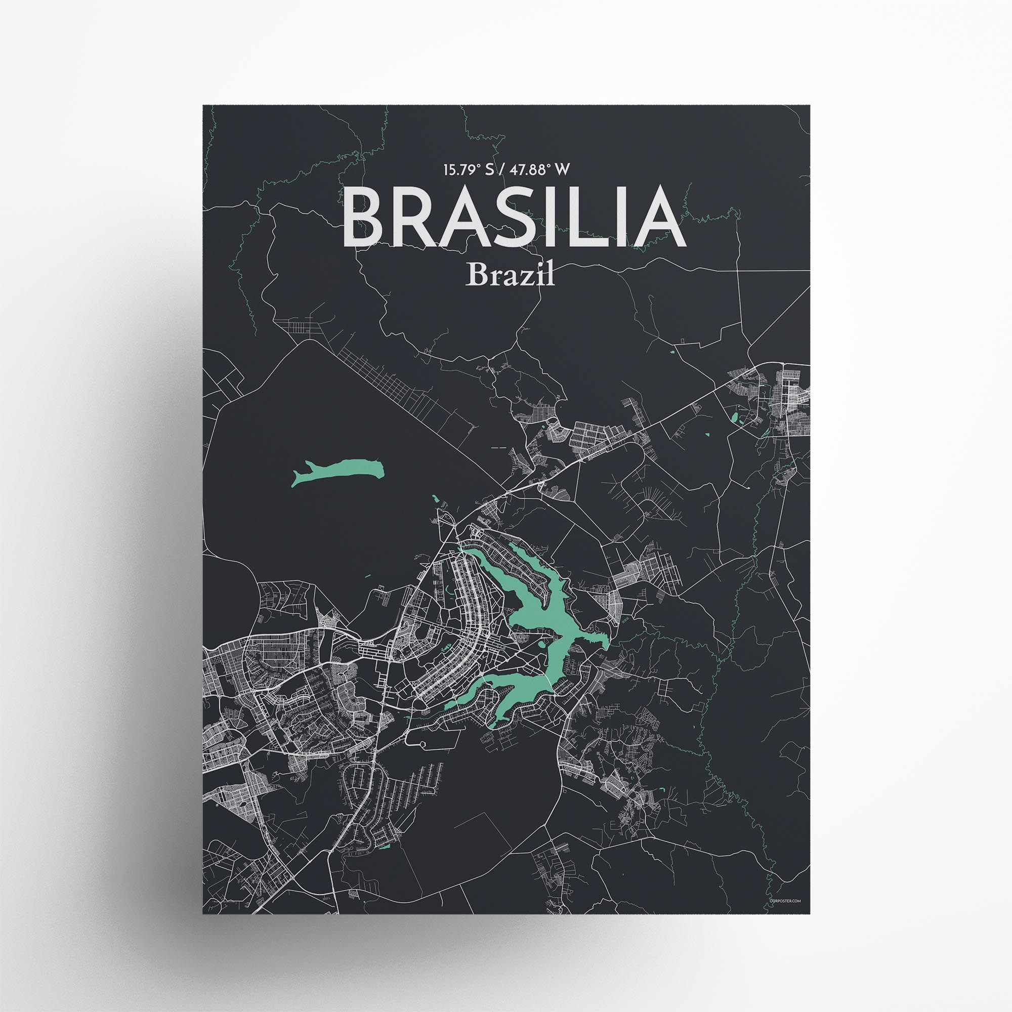 "Brasília city map poster in Dream of size 18"" x 24"""