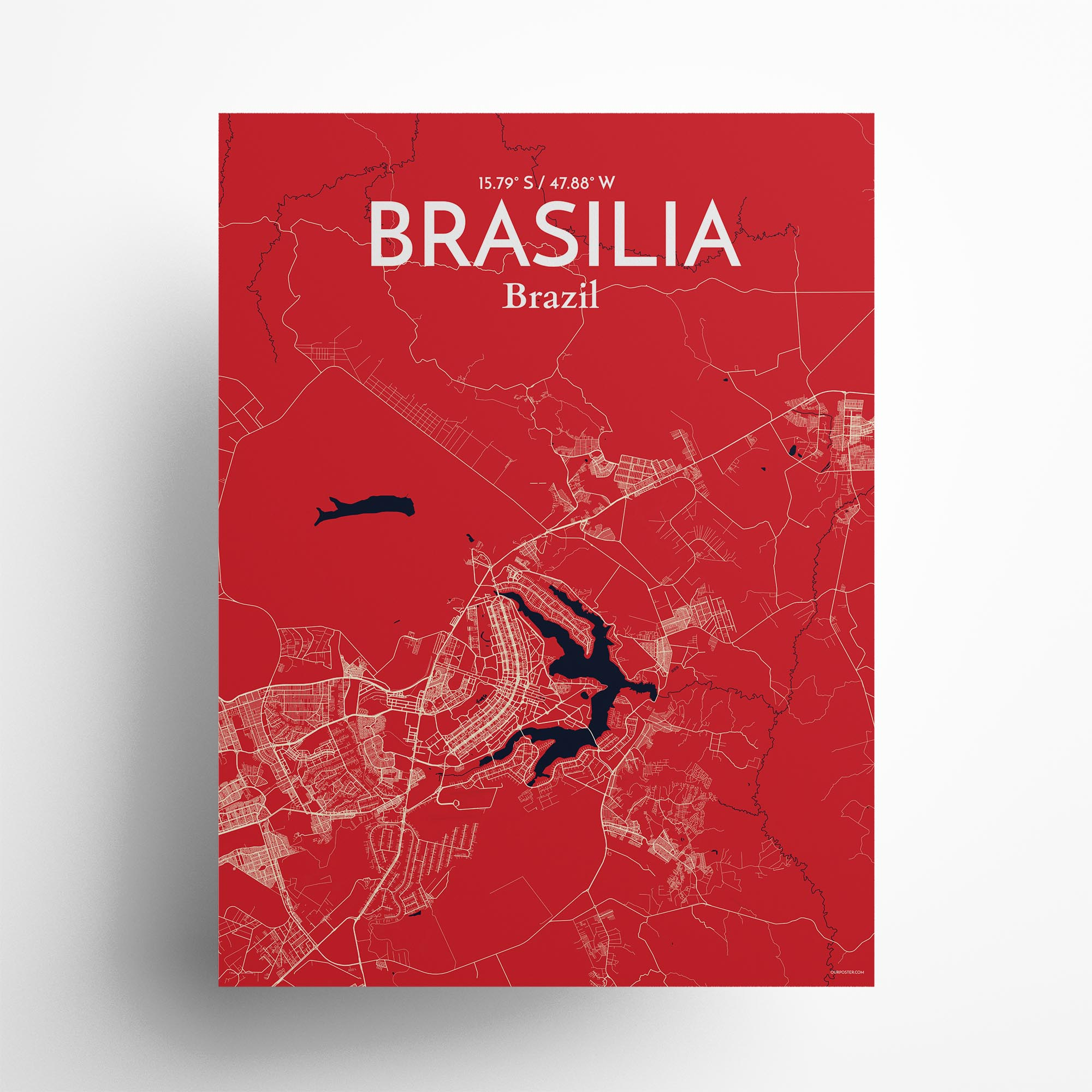 """Brasília city map poster in Nautical of size 18"""" x 24"""""""