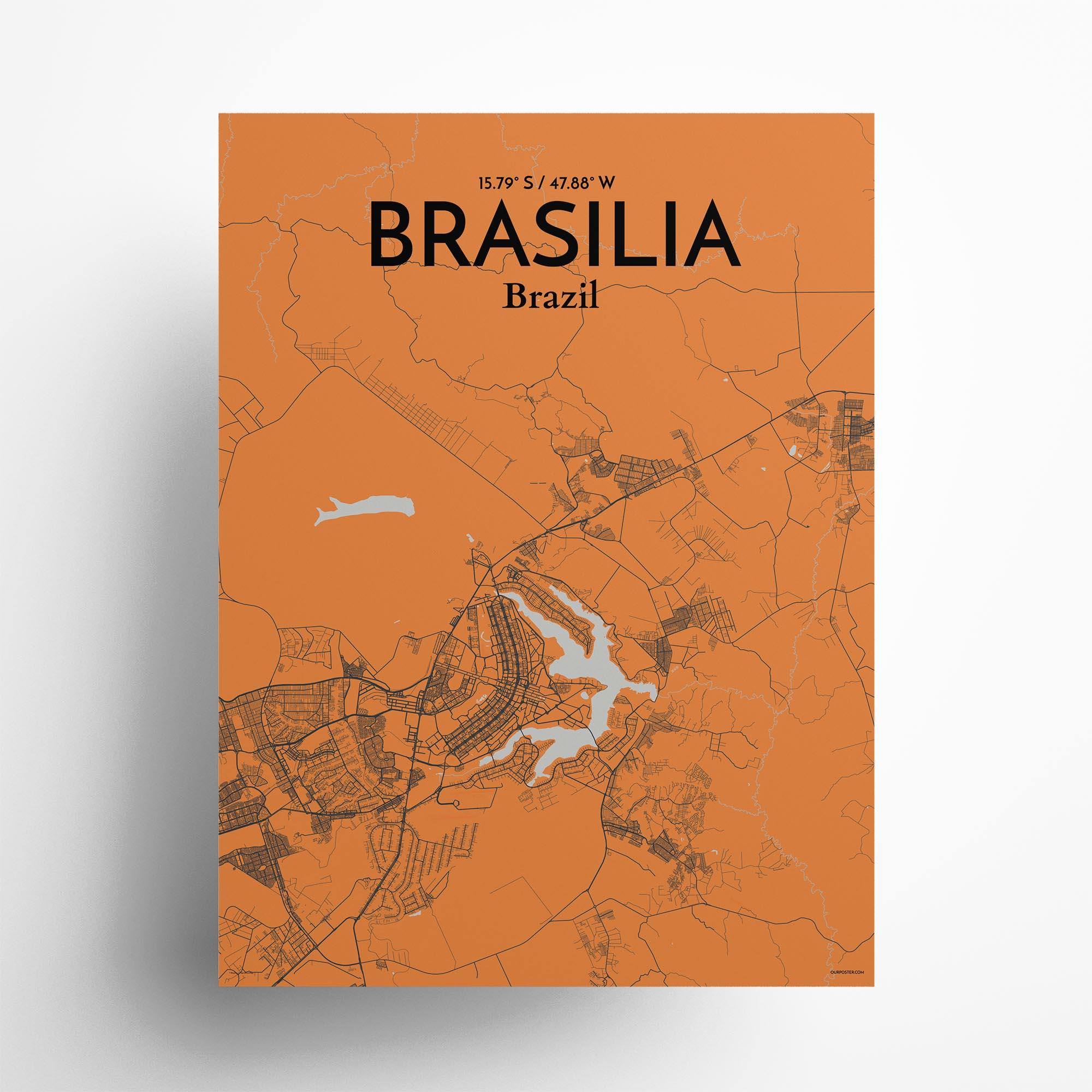 """Brasília city map poster in Oranje of size 18"""" x 24"""""""