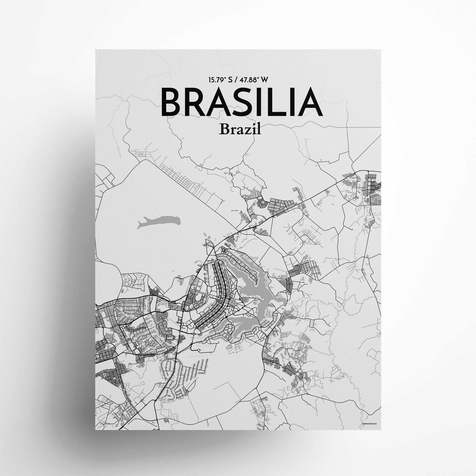 "Brasília city map poster in Tones of size 18"" x 24"""