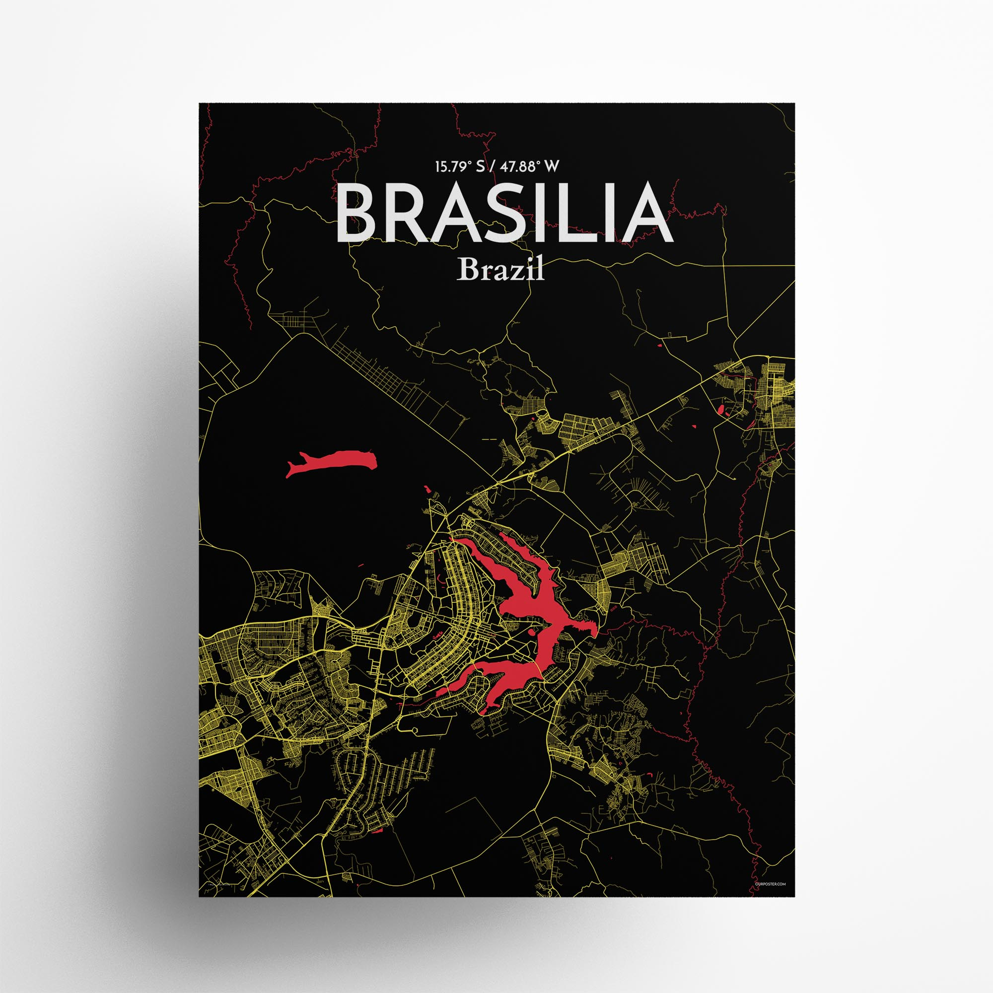 """Brasília city map poster in Contrast of size 18"""" x 24"""""""