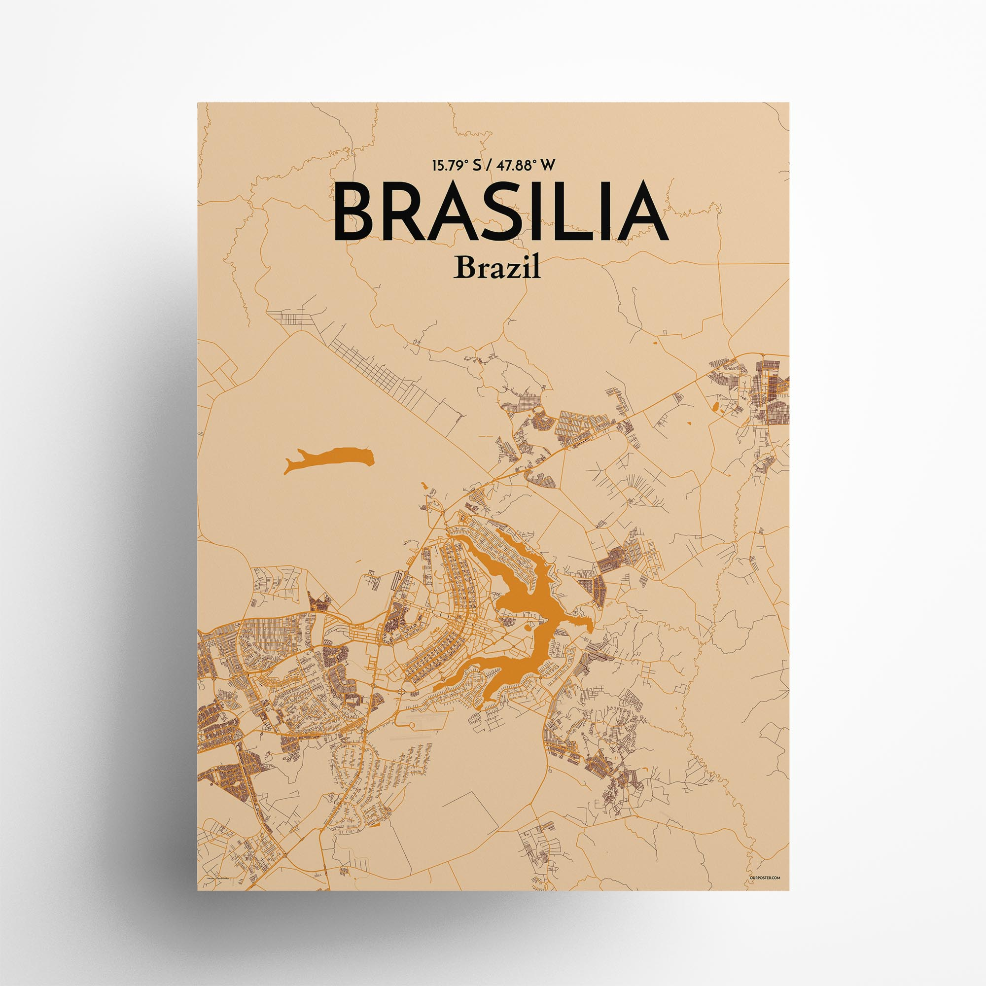 "Brasília city map poster in Vintage of size 18"" x 24"""