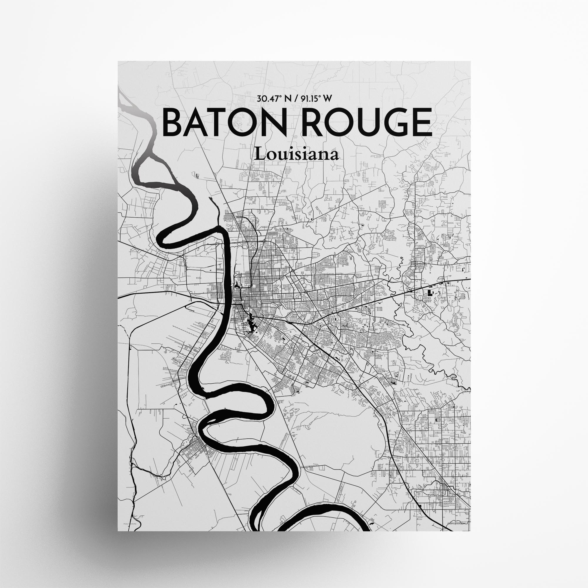 "Baton Rouge city map poster in Ink of size 18"" x 24"""