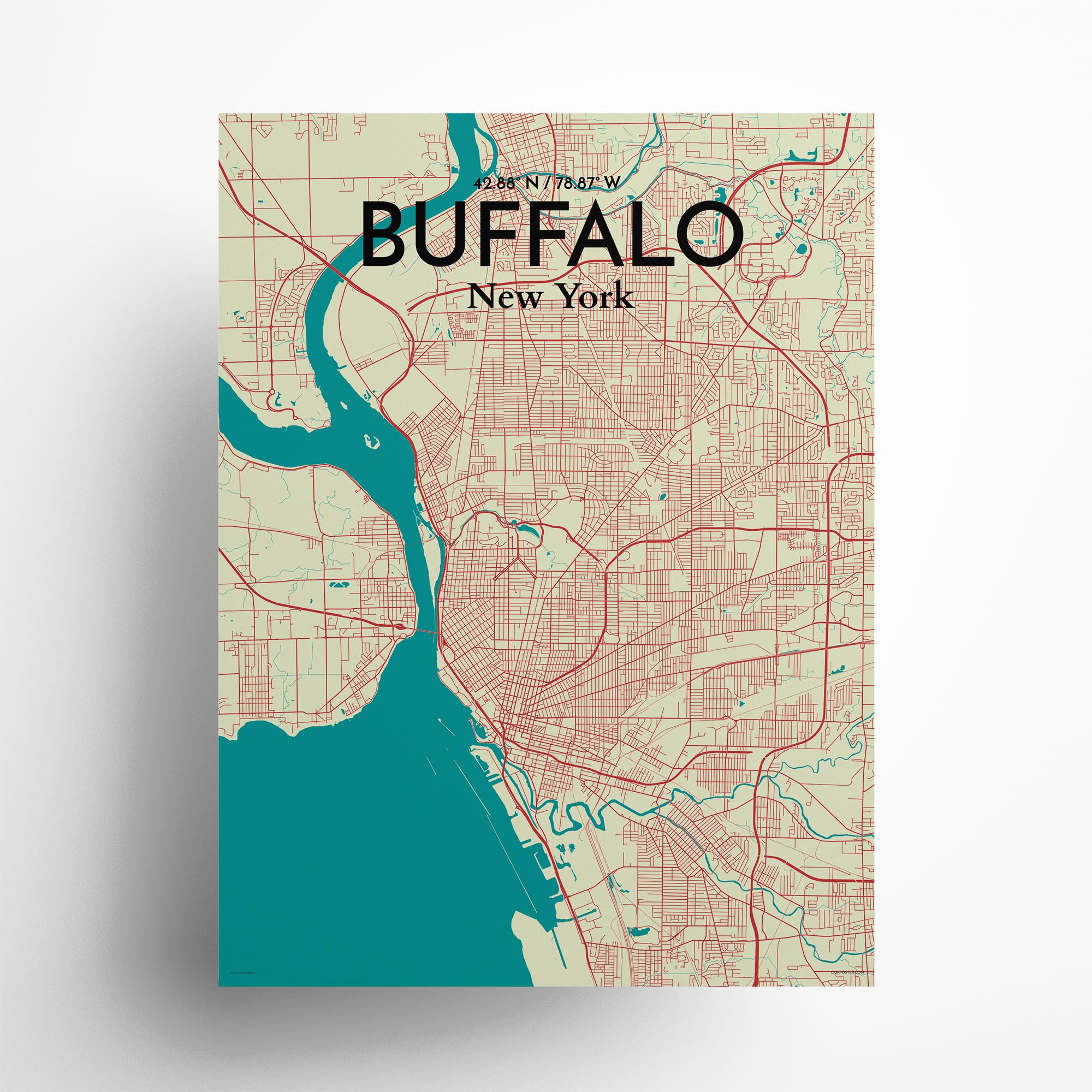 "Buffalo city map poster in Tricolor of size 18"" x 24"""