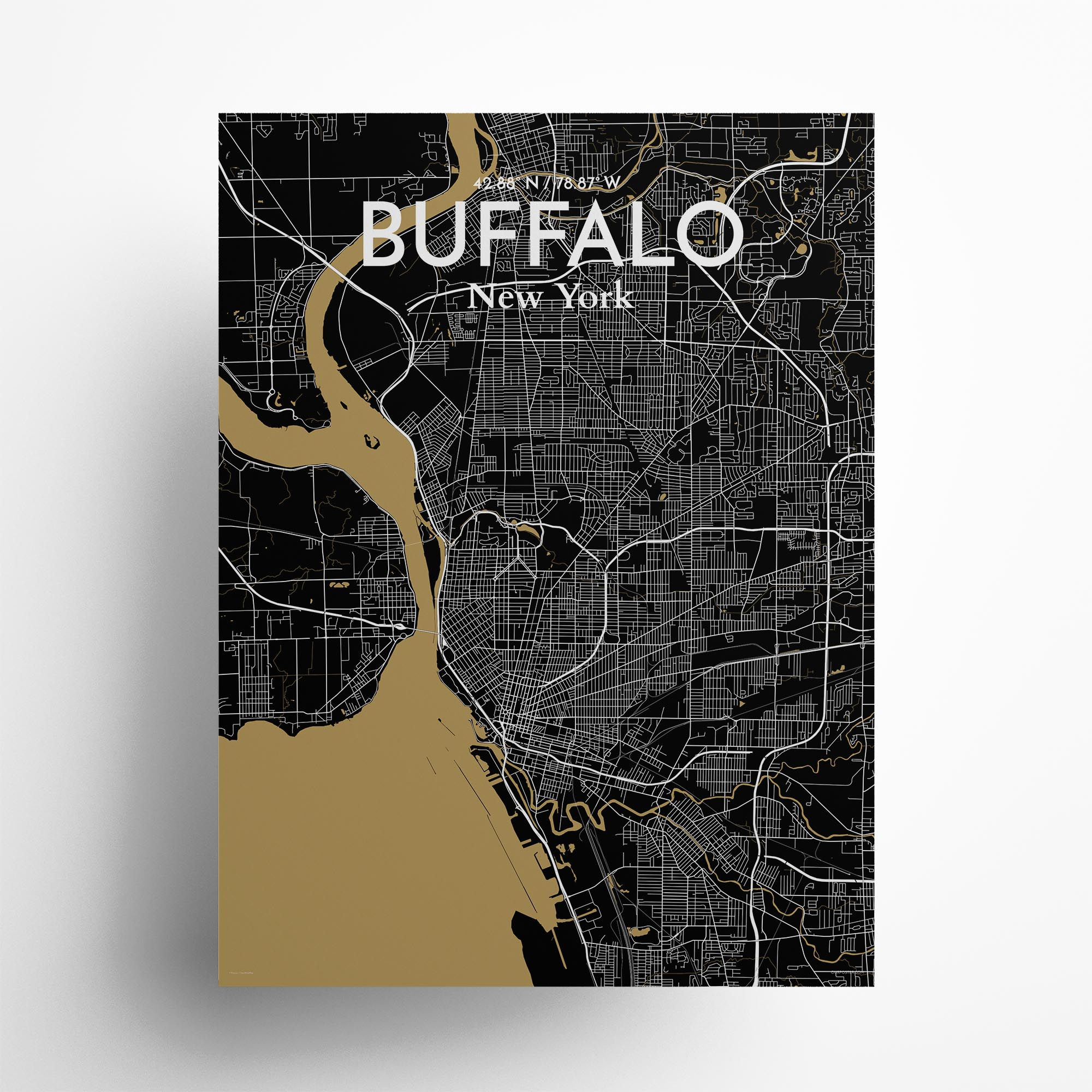 "Buffalo city map poster in Luxe of size 18"" x 24"""