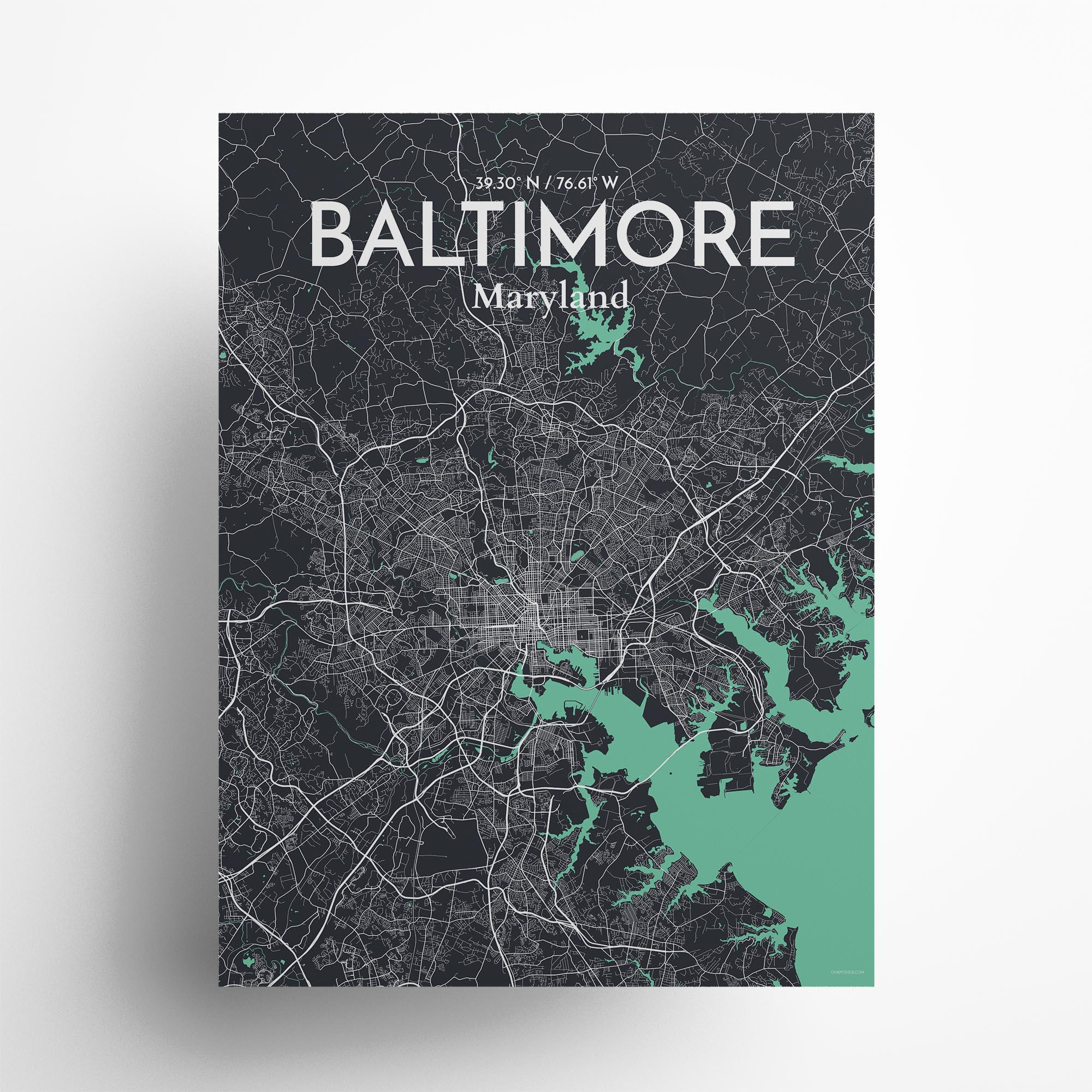 """Baltimore city map poster in Dream of size 18"""" x 24"""""""