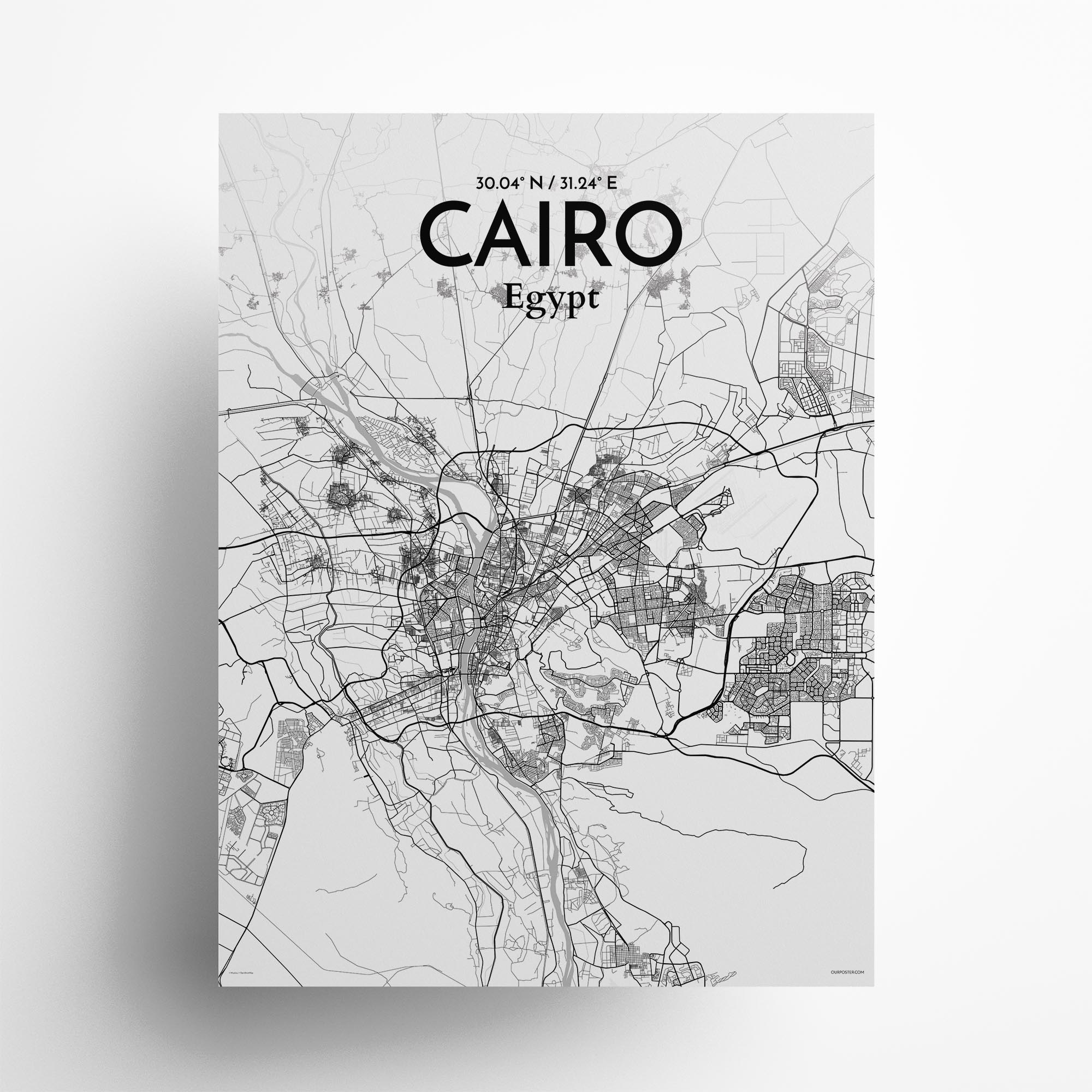 "Cairo city map poster in Tones of size 18"" x 24"""
