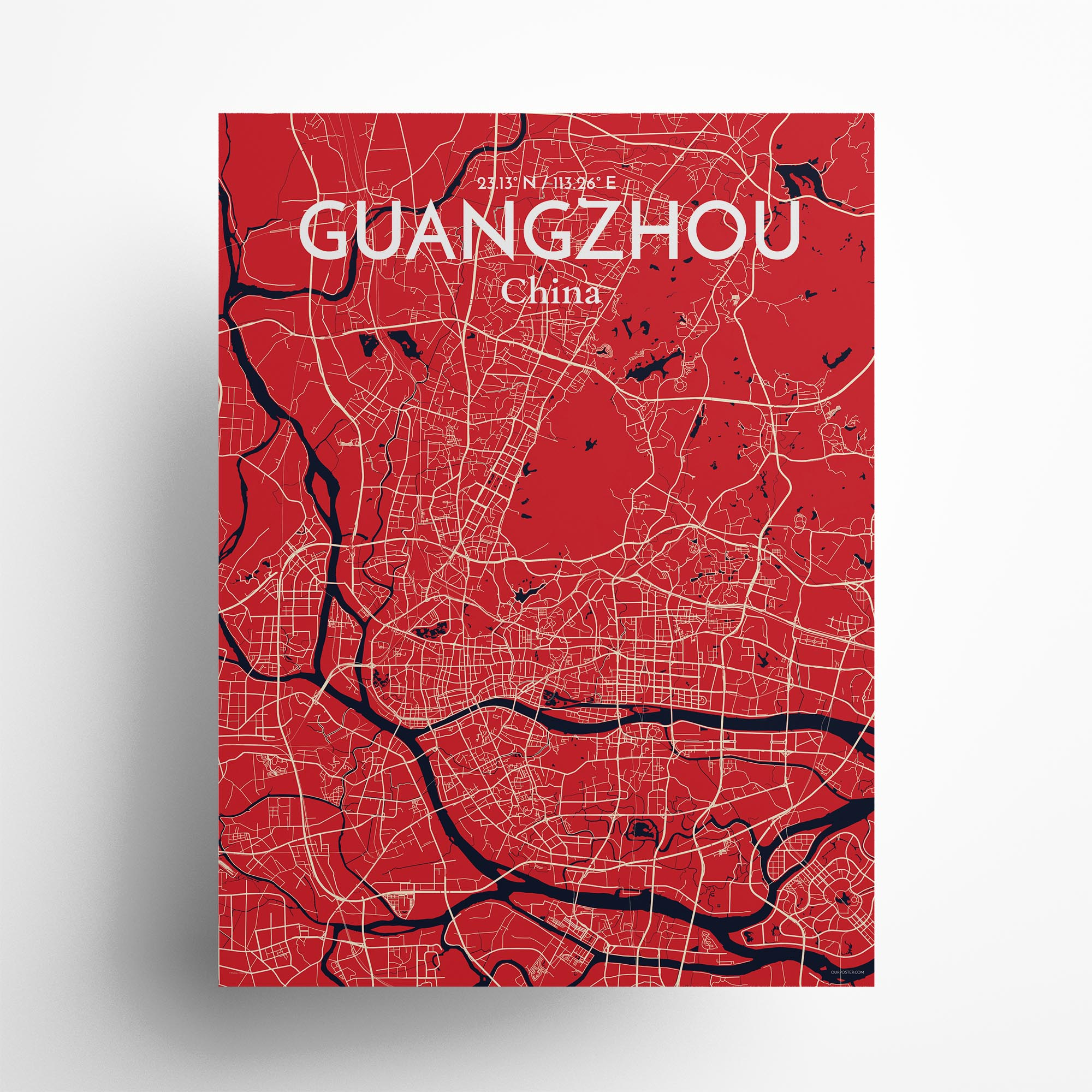 "Guangzhou city map poster in Nautical of size 18"" x 24"""
