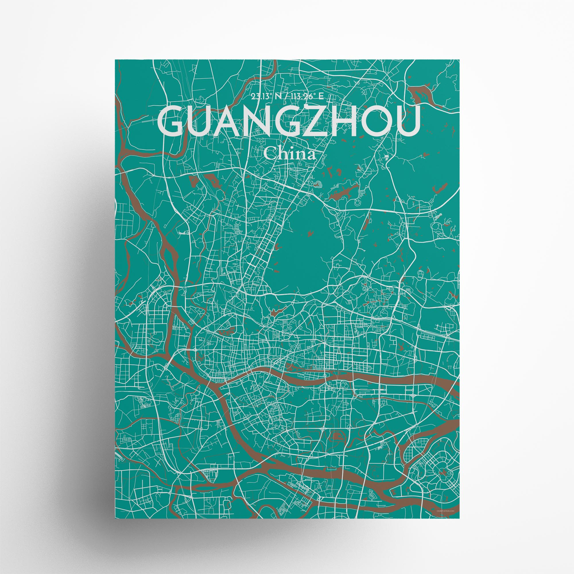 """Guangzhou city map poster in Nature of size 18"""" x 24"""""""