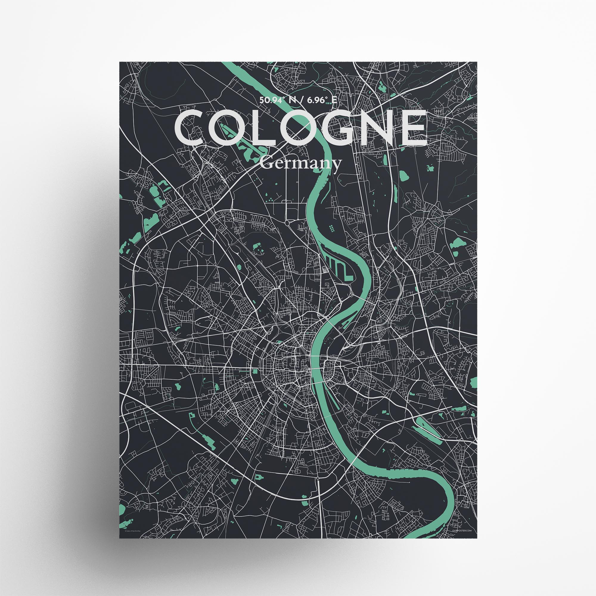 "Cologne city map poster in Dream of size 18"" x 24"""