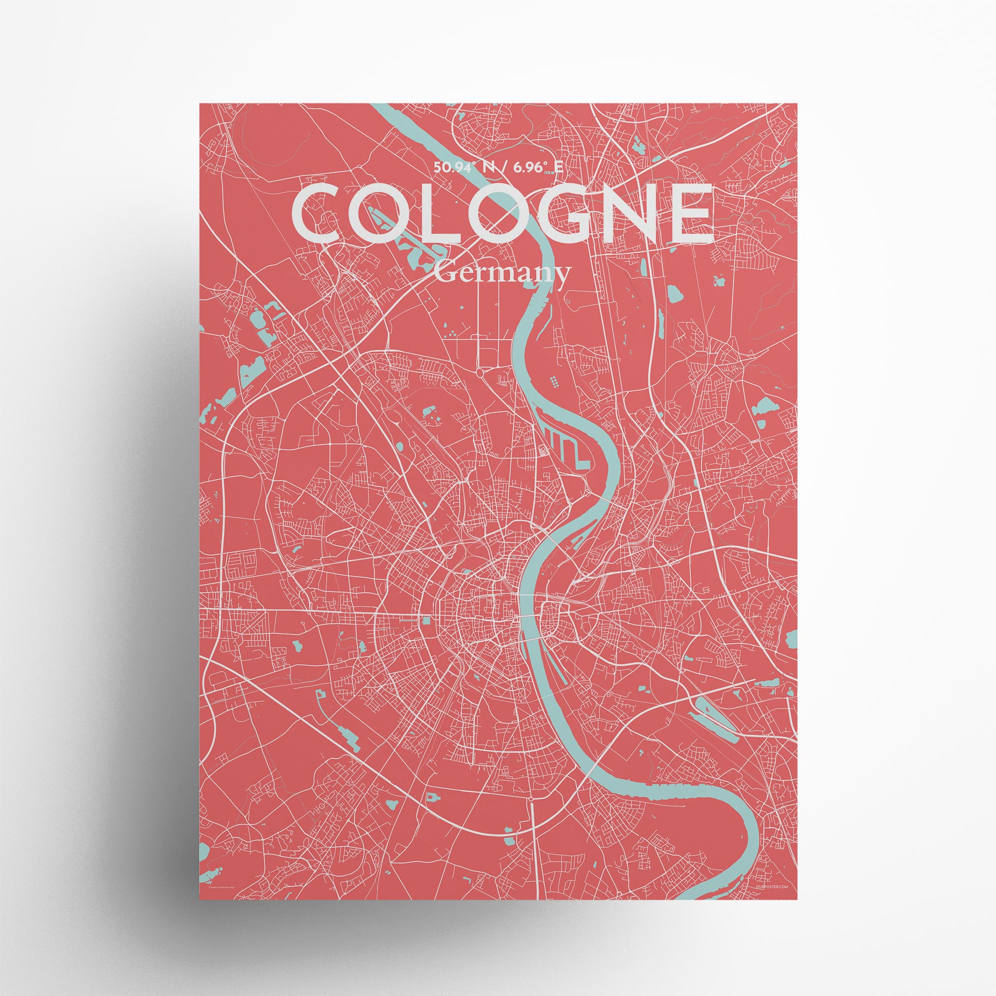 "Cologne city map poster in Maritime of size 18"" x 24"""