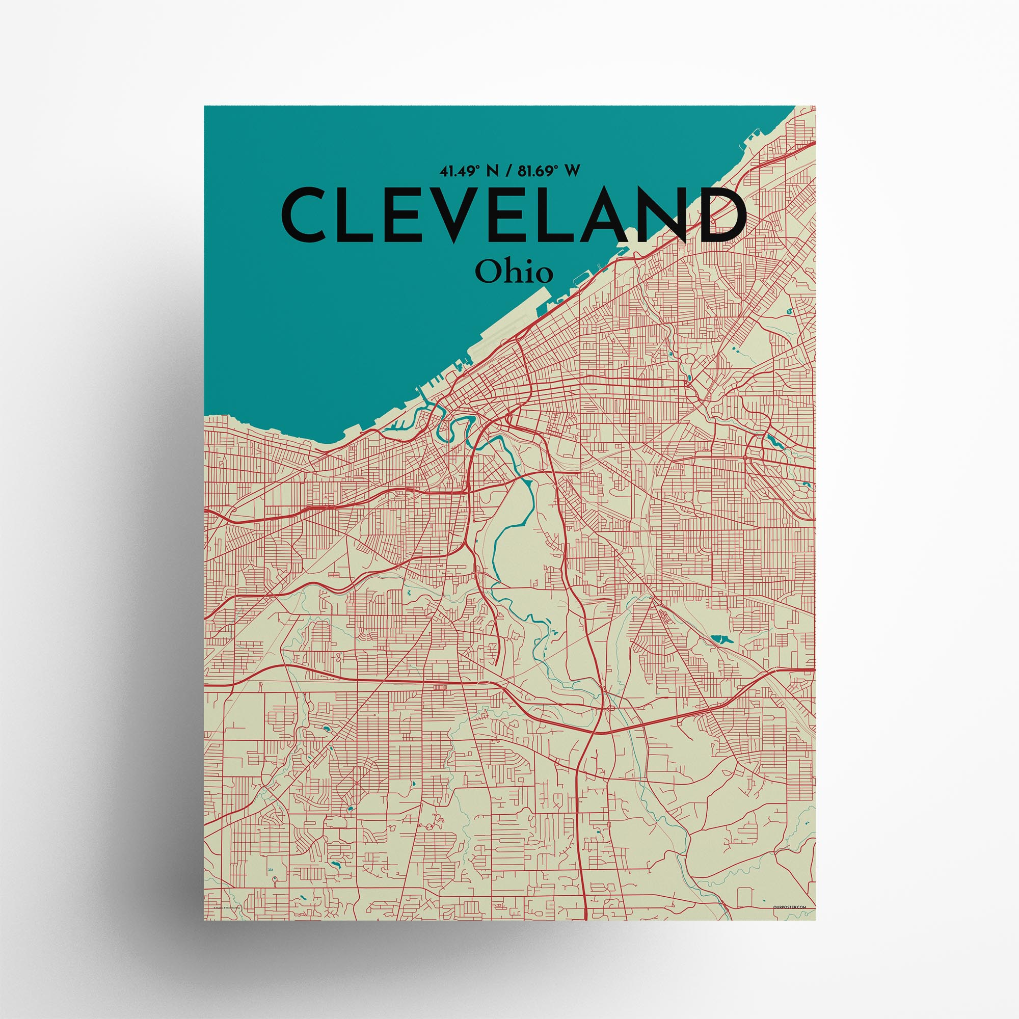 """Cleveland city map poster in Tricolor of size 18"""" x 24"""""""