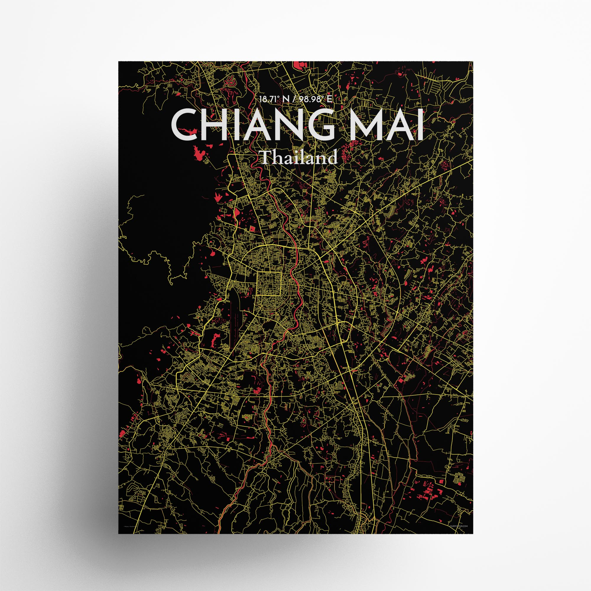 "Chiang Mai city map poster in Contrast of size 18"" x 24"""