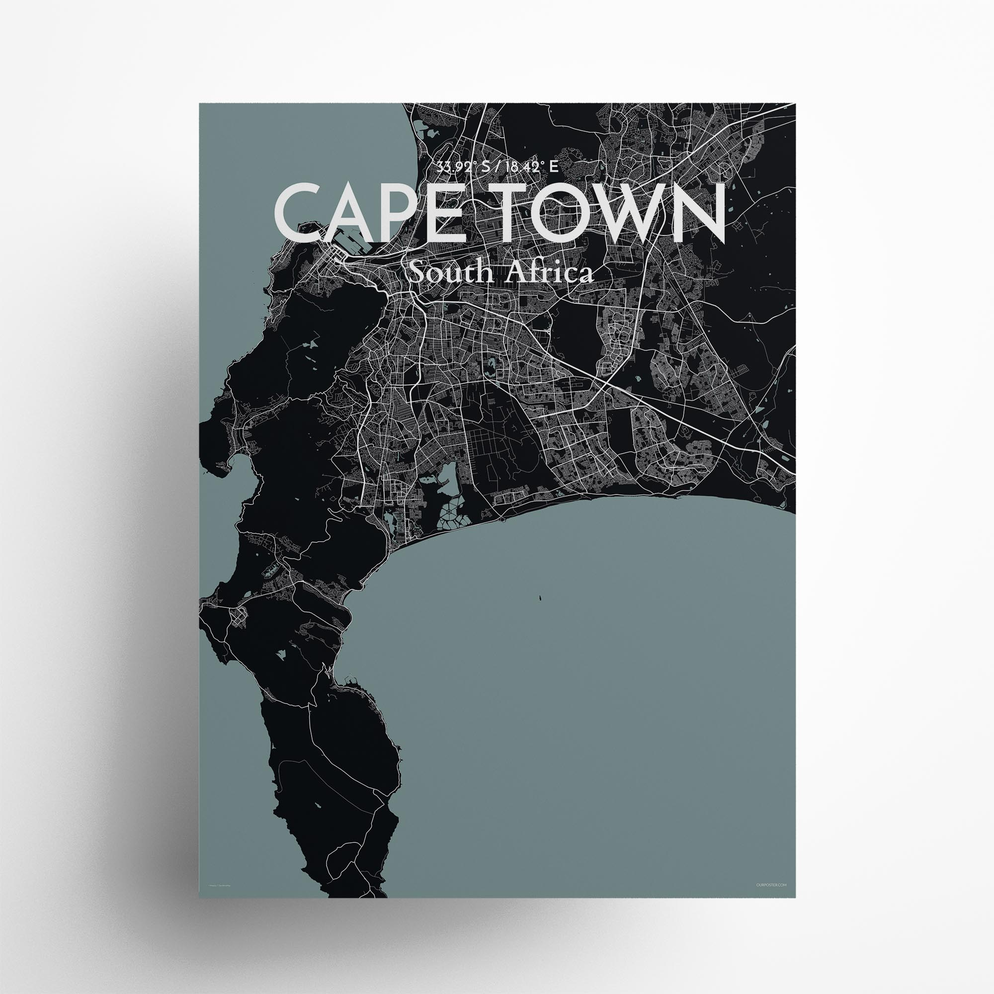 "Cape Town city map poster in Midnight of size 18"" x 24"""