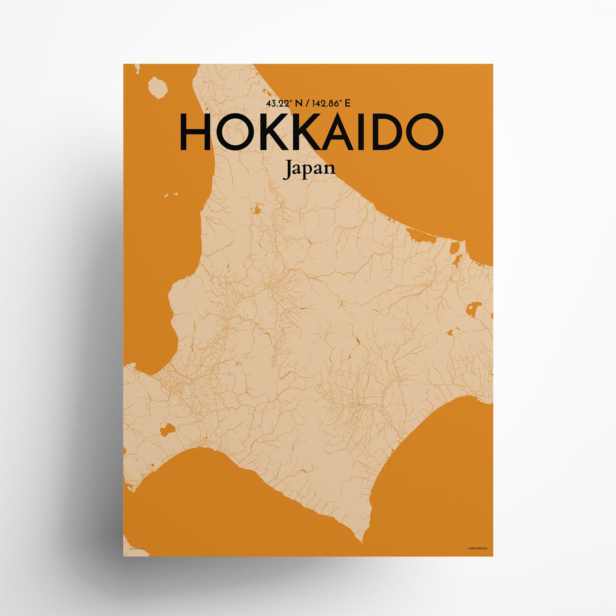 """Hokkaido city map poster in Vintage of size 18"""" x 24"""""""