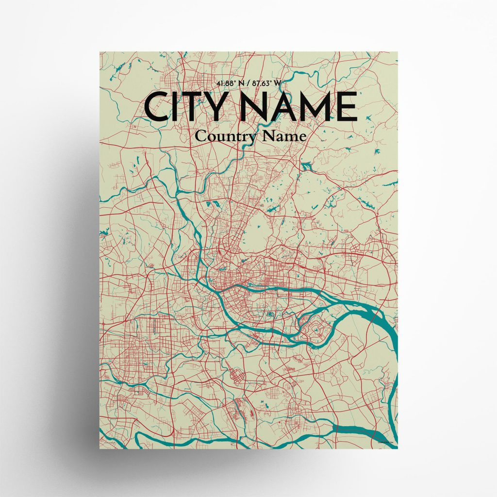 "City Name city map poster in Tricolor of size 18"" x 24"""