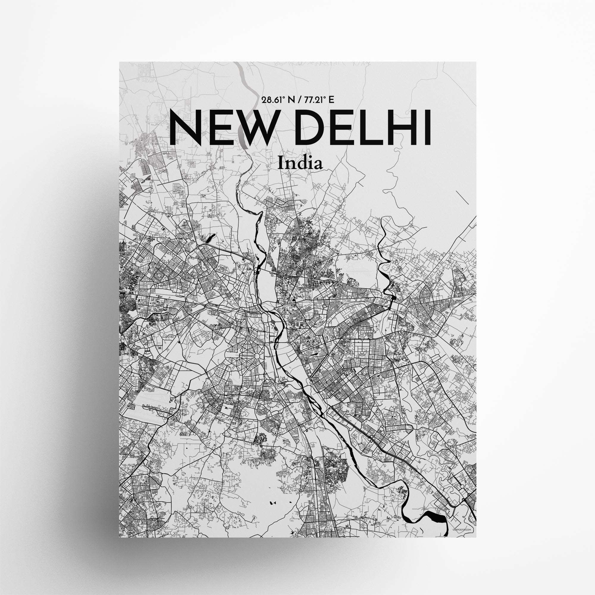 "New Delhi city map poster in Ink of size 18"" x 24"""