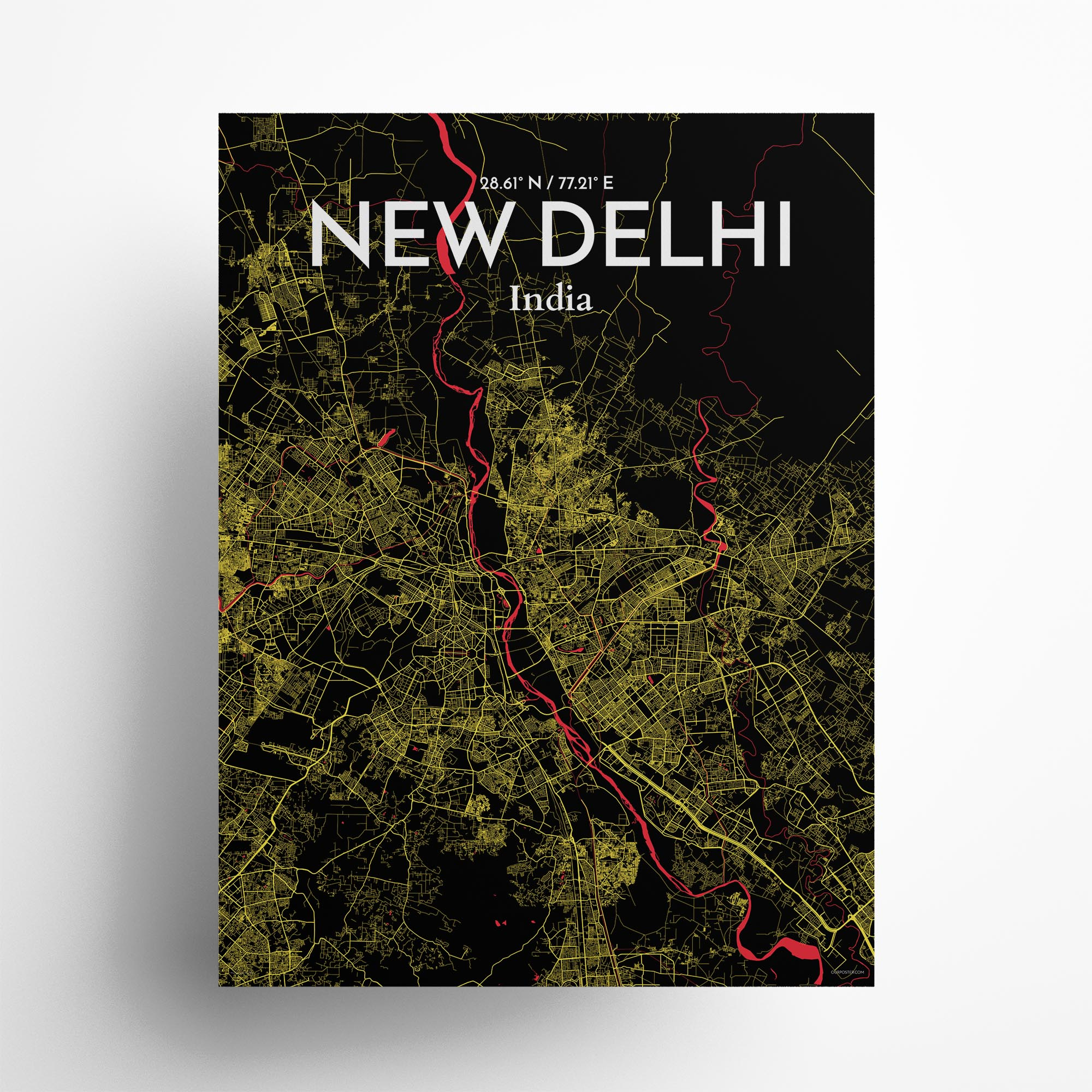 "New Delhi city map poster in Contrast of size 18"" x 24"""
