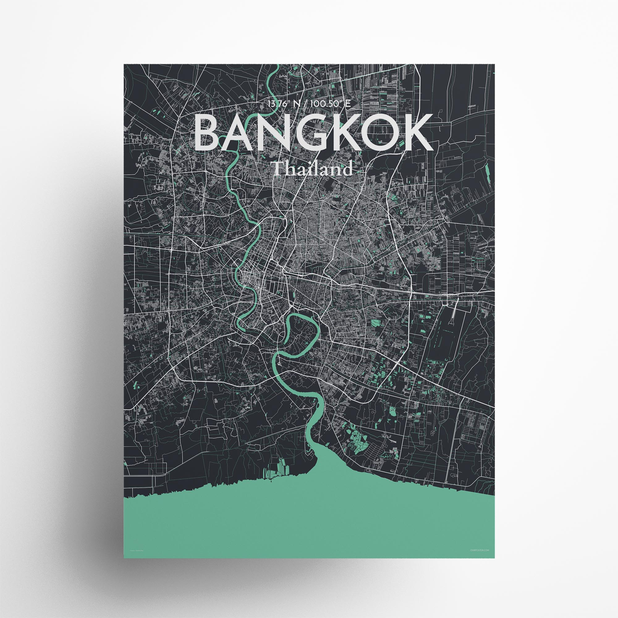 "Bangkok city map poster in Dream of size 18"" x 24"""