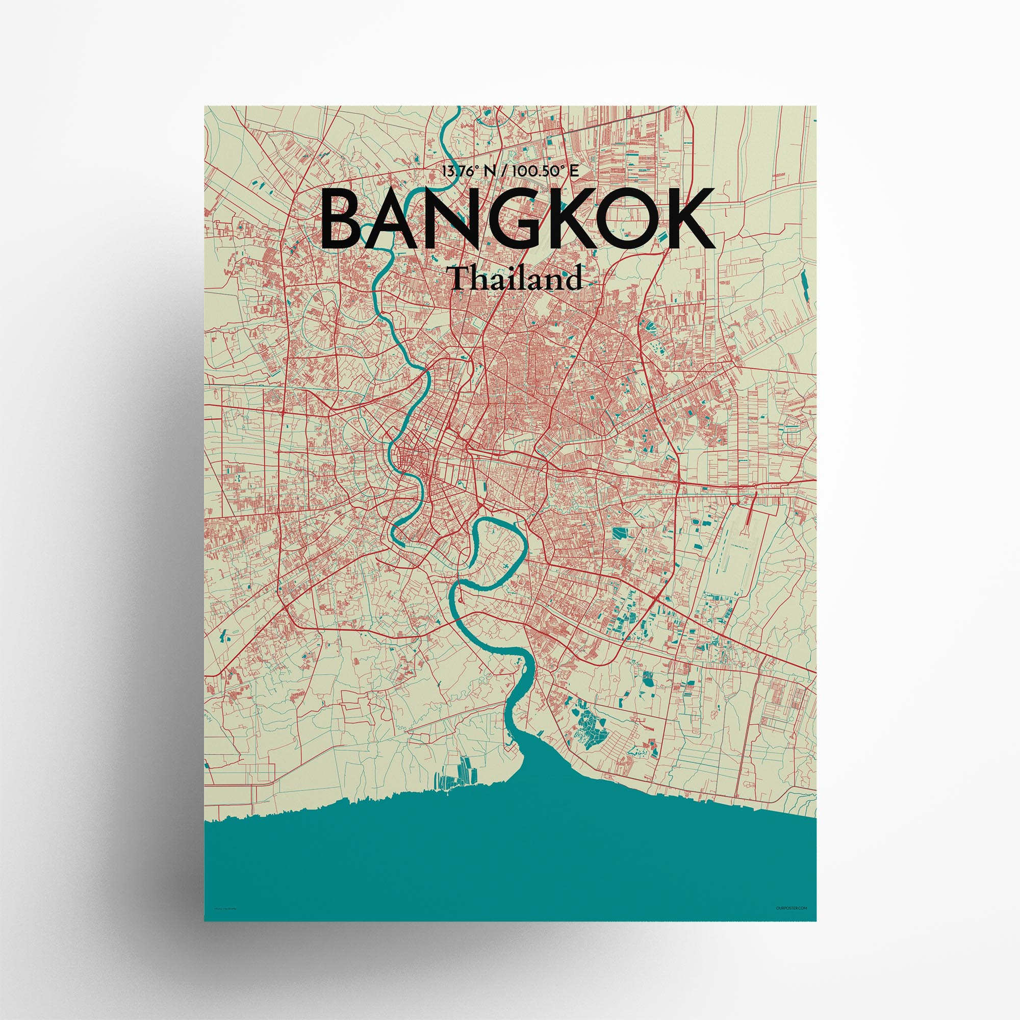"""Bangkok city map poster in Tricolor of size 18"""" x 24"""""""