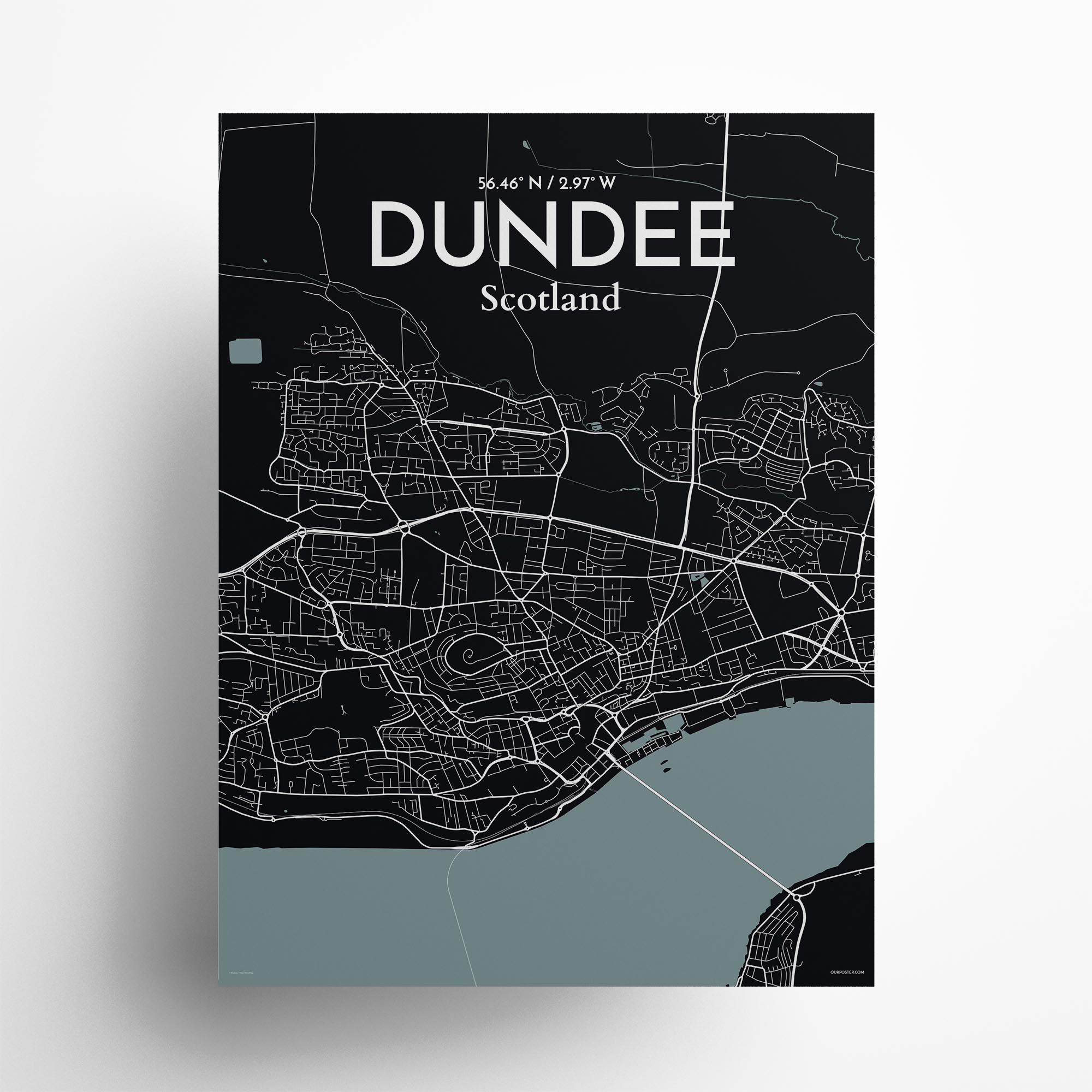 "Dundee city map poster in Midnight of size 18"" x 24"""