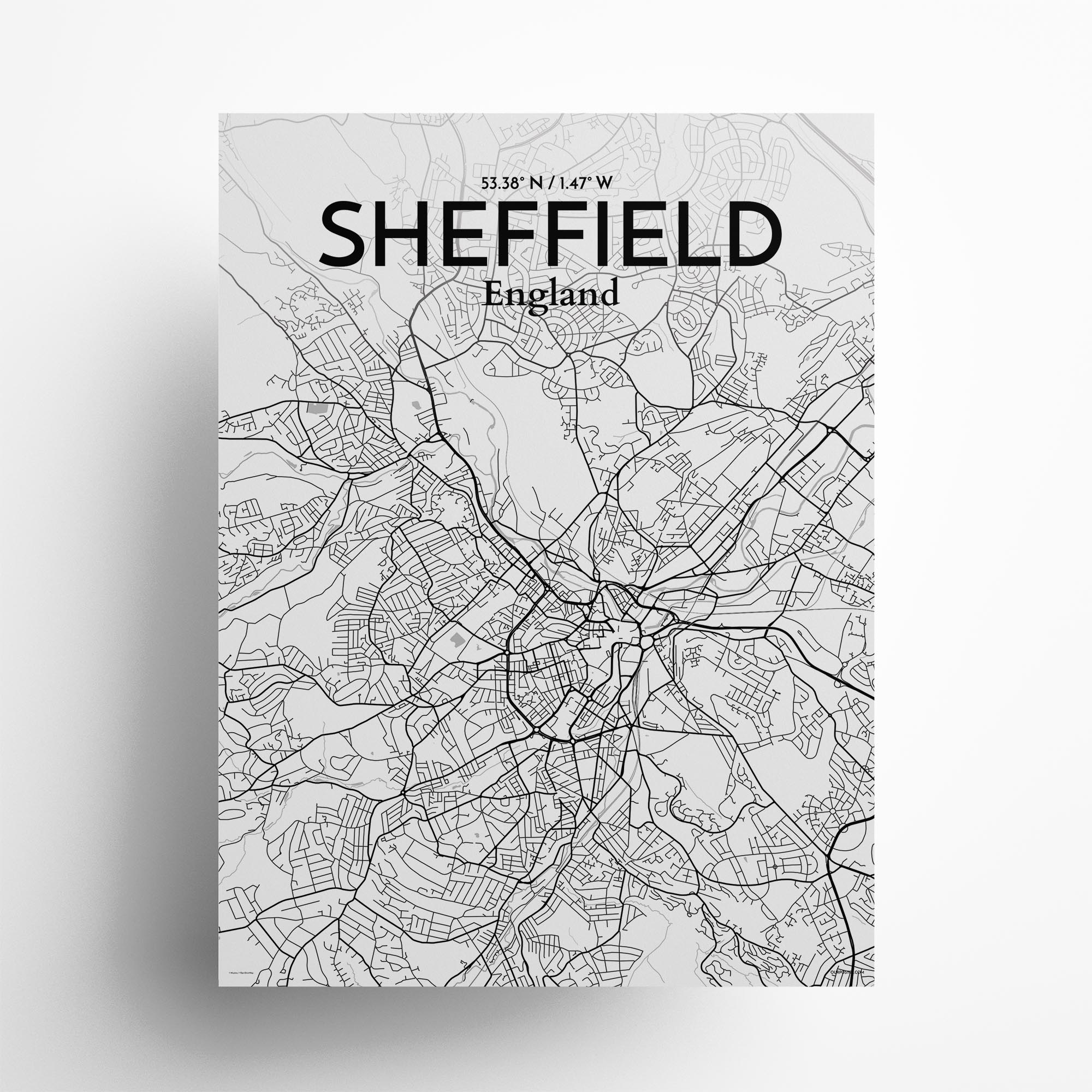 "Sheffield city map poster in Tones of size 18"" x 24"""