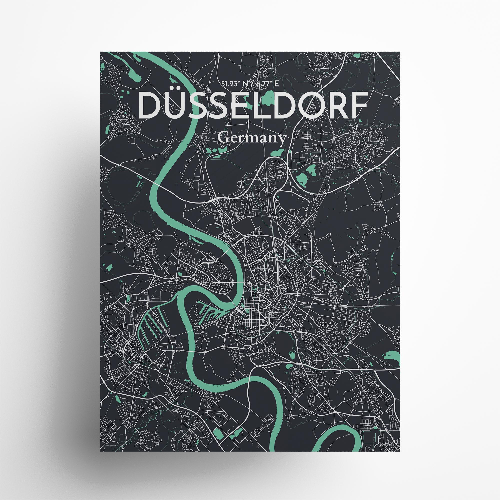 "Dusseldorf city map poster in Dream of size 18"" x 24"""