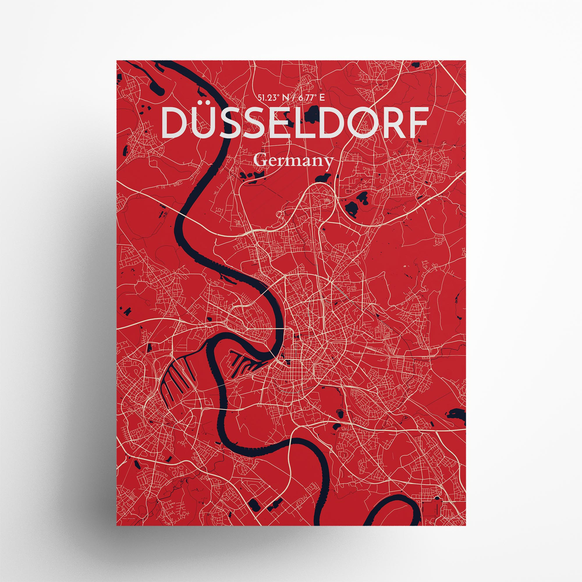 "D�sseldorf city map poster in Nautical of size 18"" x 24"""