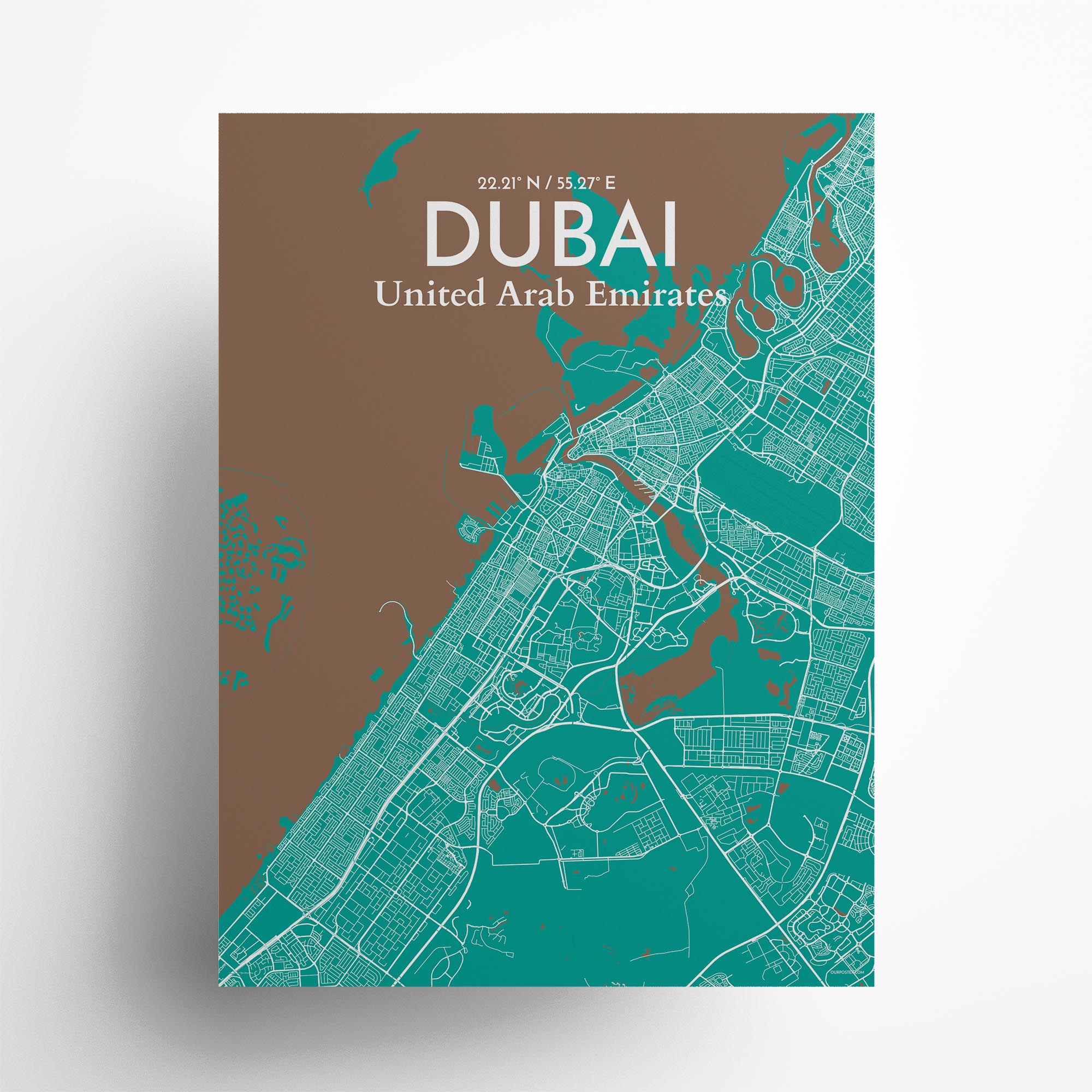 "Dubai city map poster in Nature of size 18"" x 24"""