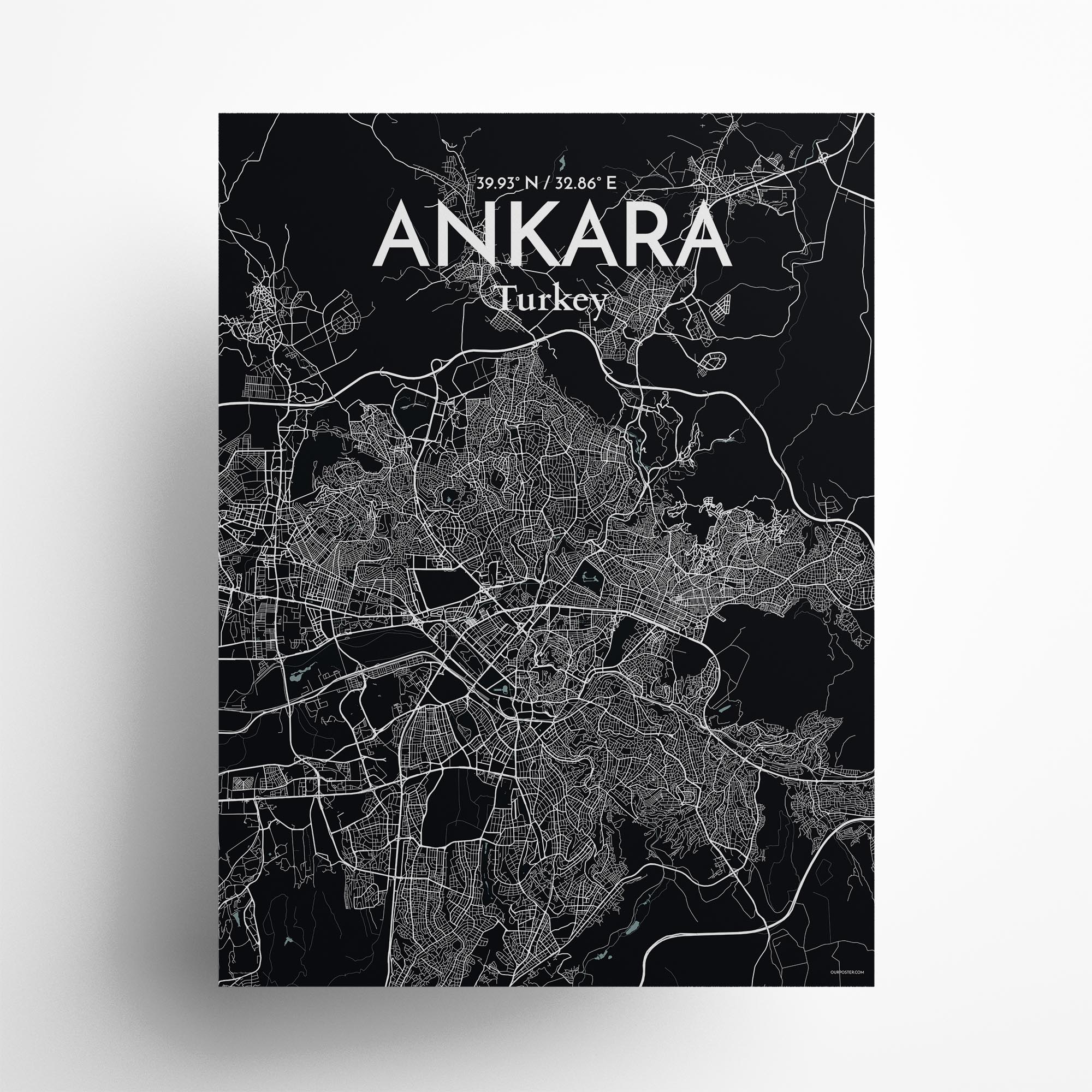 "Ankara city map poster in Midnight of size 18"" x 24"""