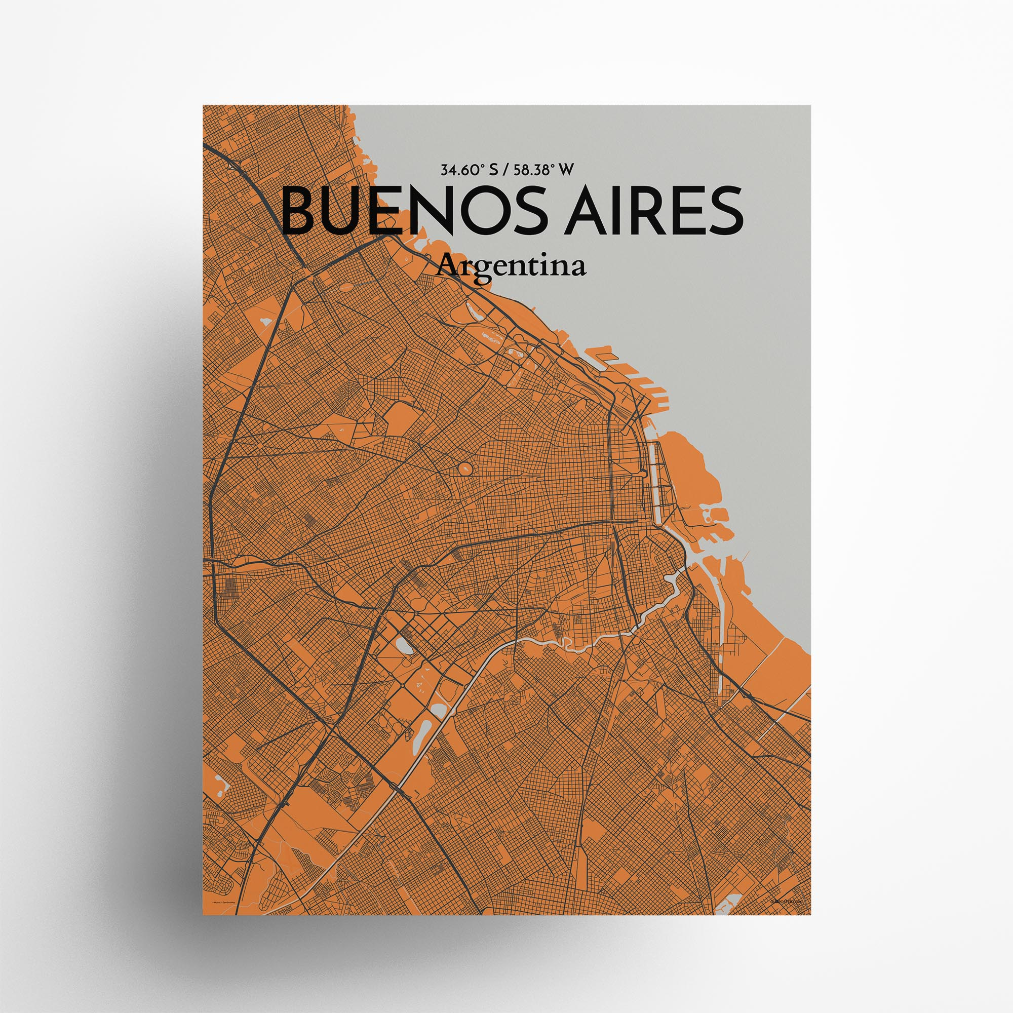 "Buenos Aires city map poster in Oranje of size 18"" x 24"""