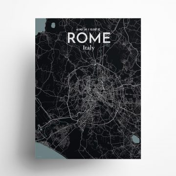 "Rome city map poster in Midnight of size 18"" x 24"""