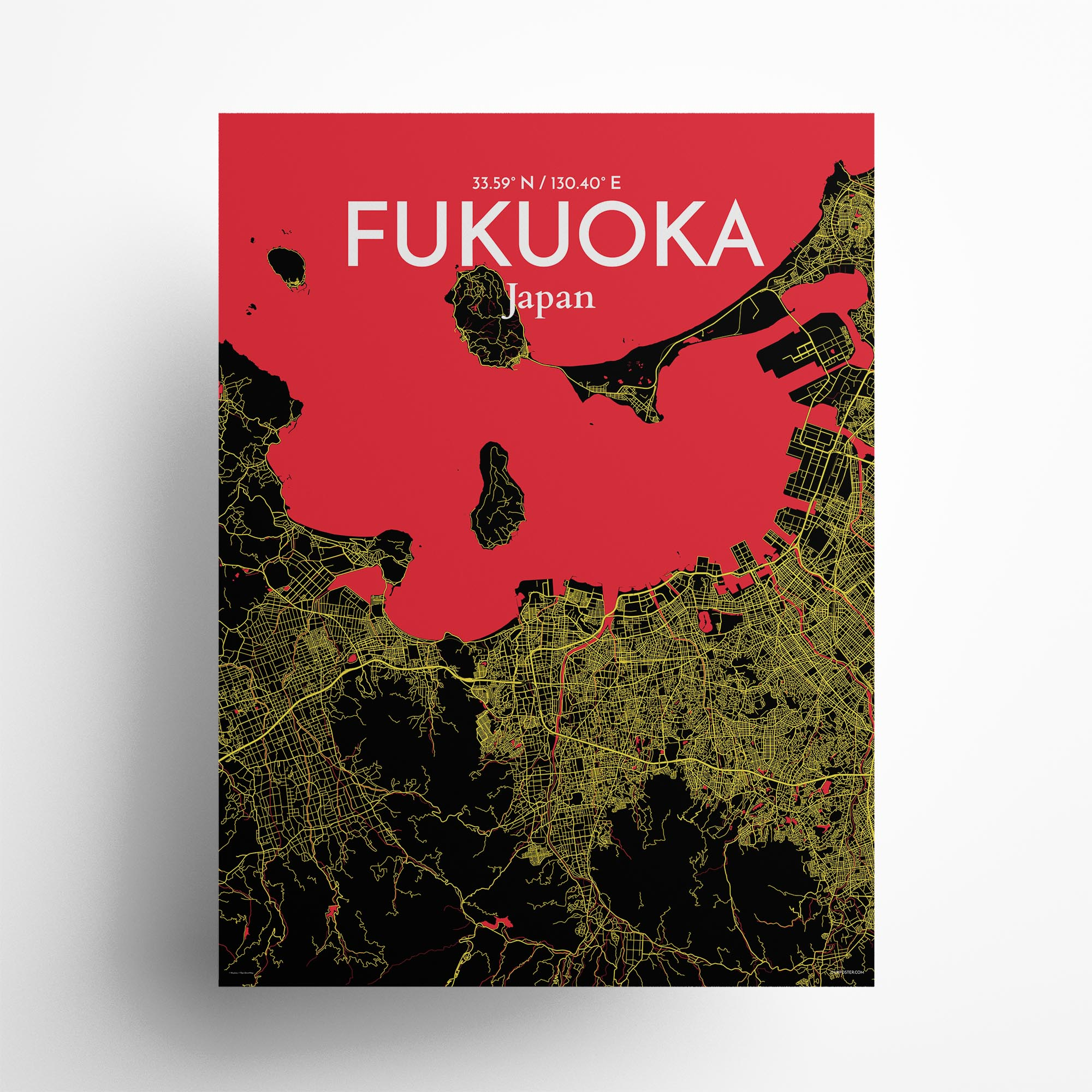"Fukuoka city map poster in Contrast of size 18"" x 24"""