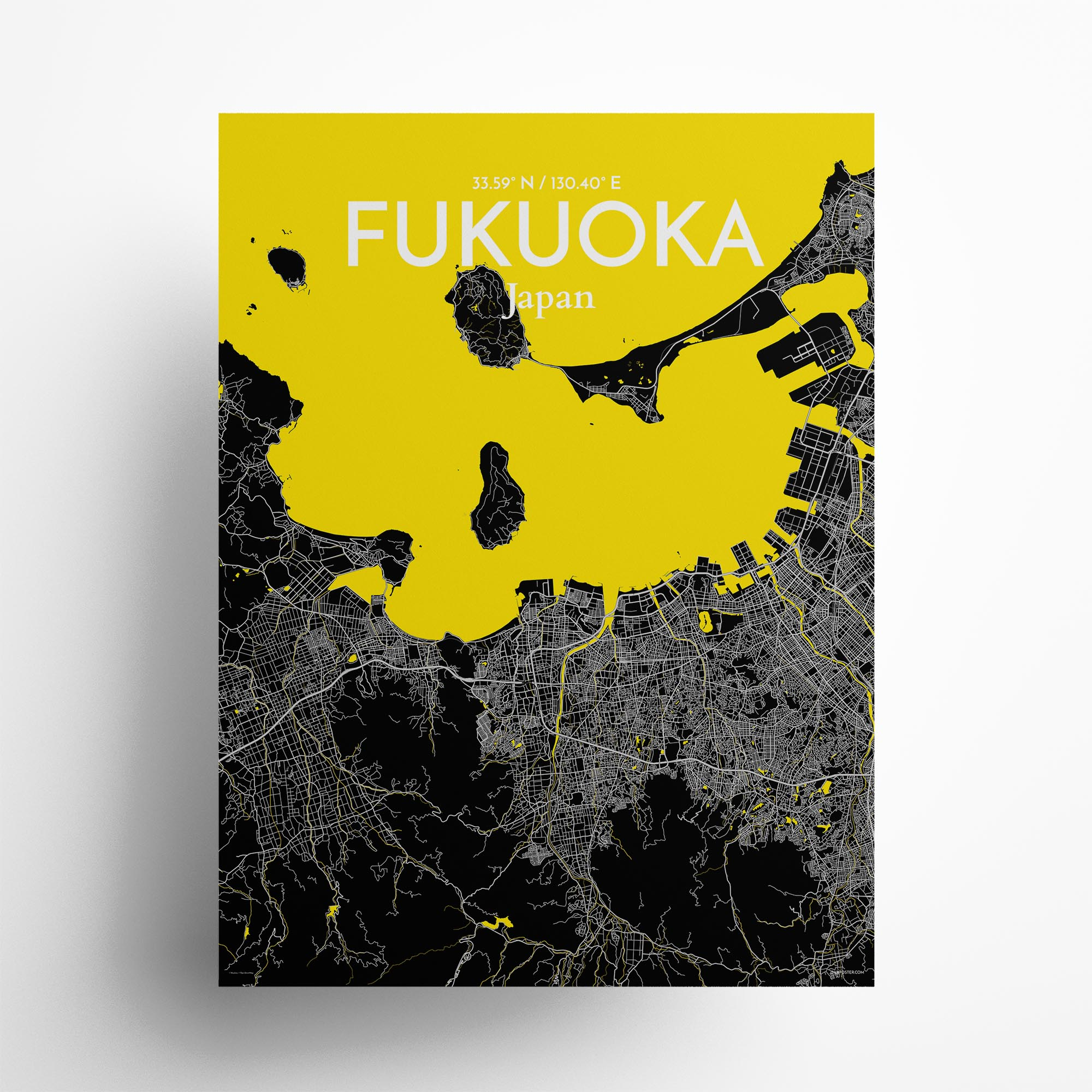 "Fukuoka city map poster in Times of size 18"" x 24"""