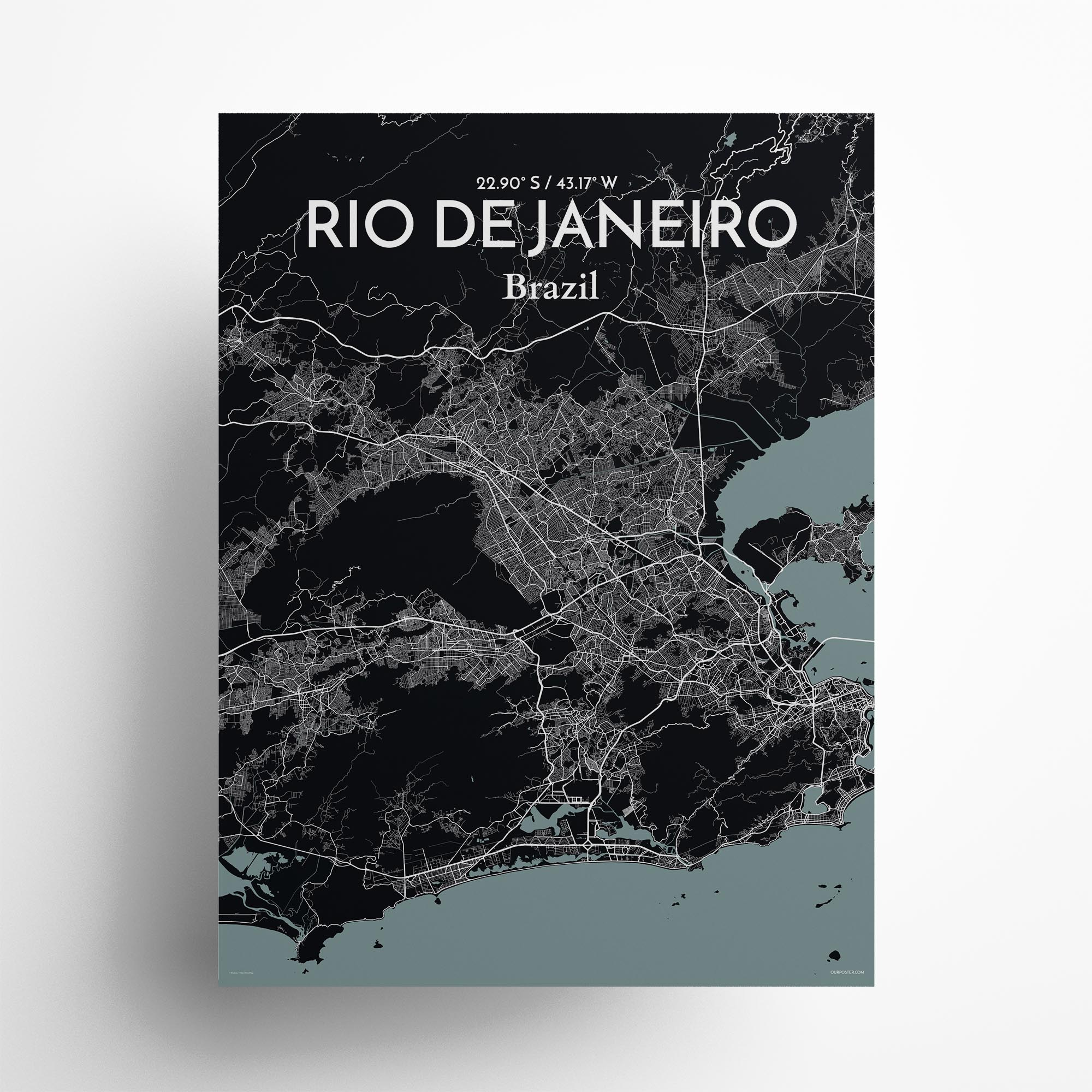 "Rio de Janeiro city map poster in Midnight of size 18"" x 24"""