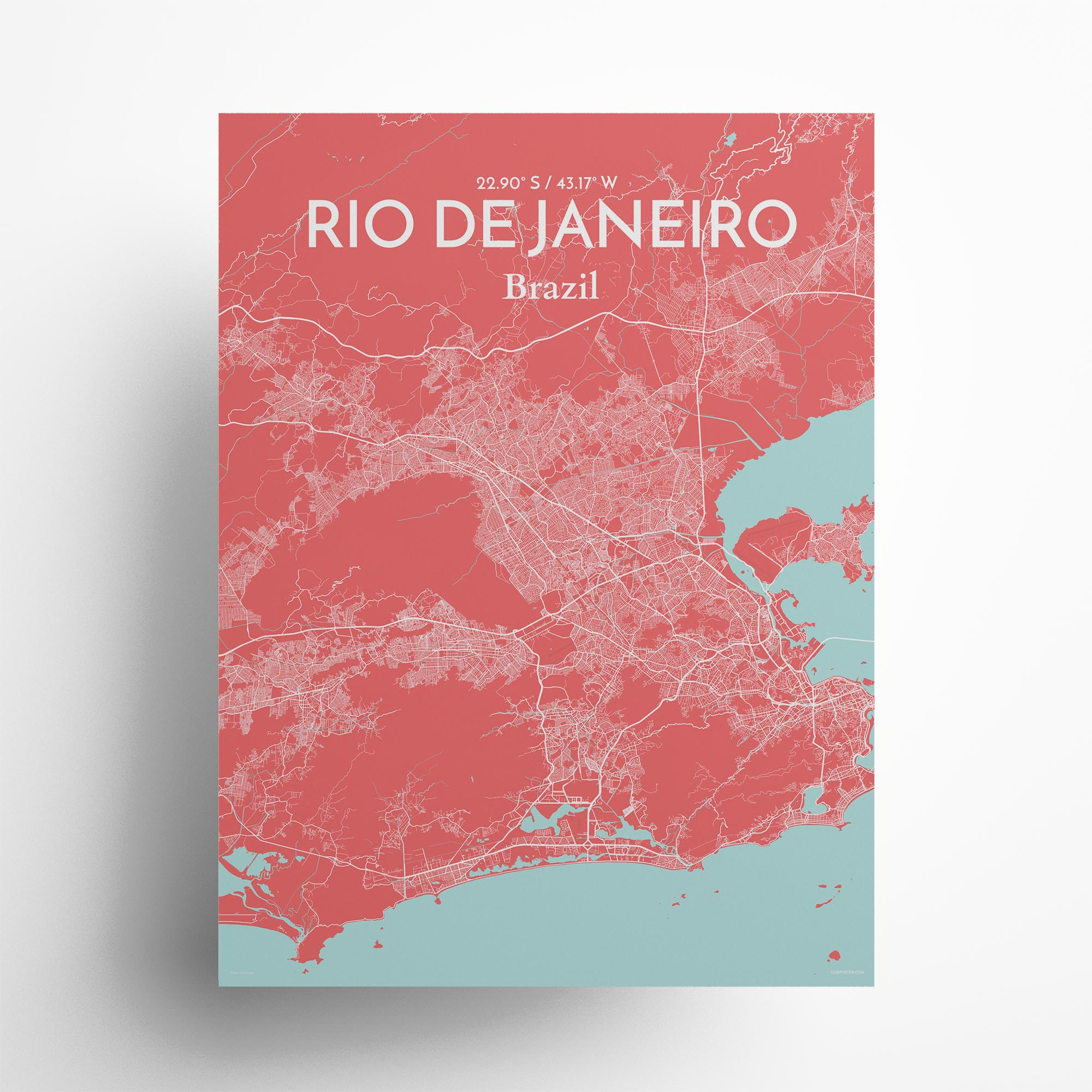 "Rio de Janeiro city map poster in Maritime of size 18"" x 24"""